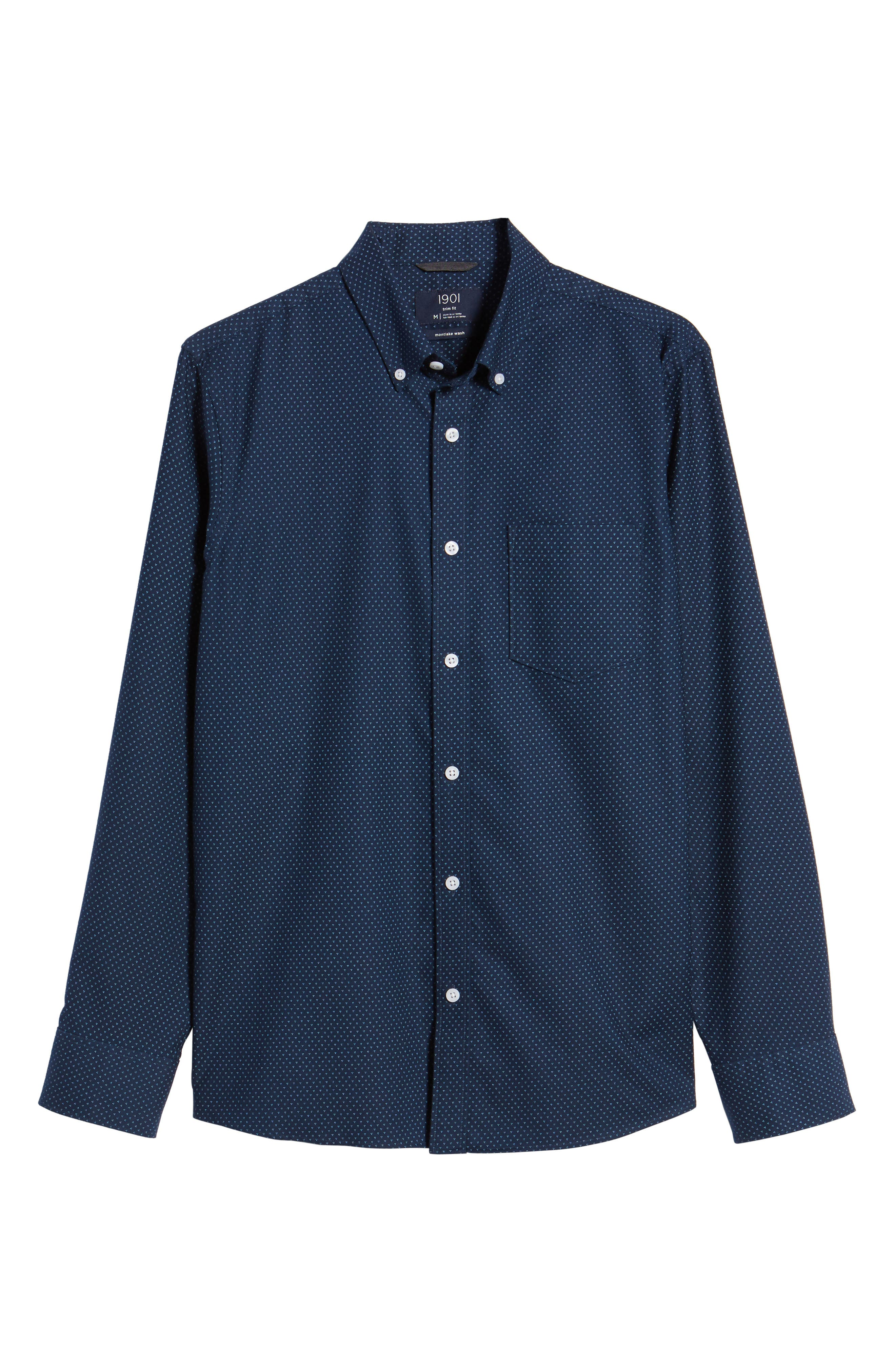 Trim Fit Print Washed Oxford Sport Shirt,                             Alternate thumbnail 6, color,                             Navy Night Triple Dot