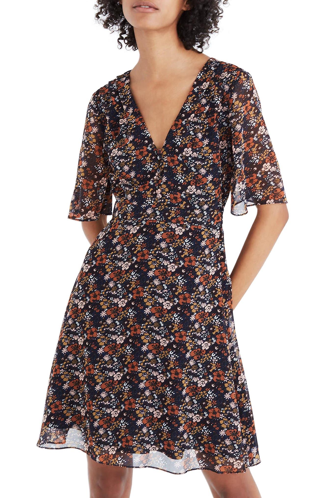 Orchard Flutter Sleeve Dress,                         Main,                         color, Woodland Warm Nutmeg