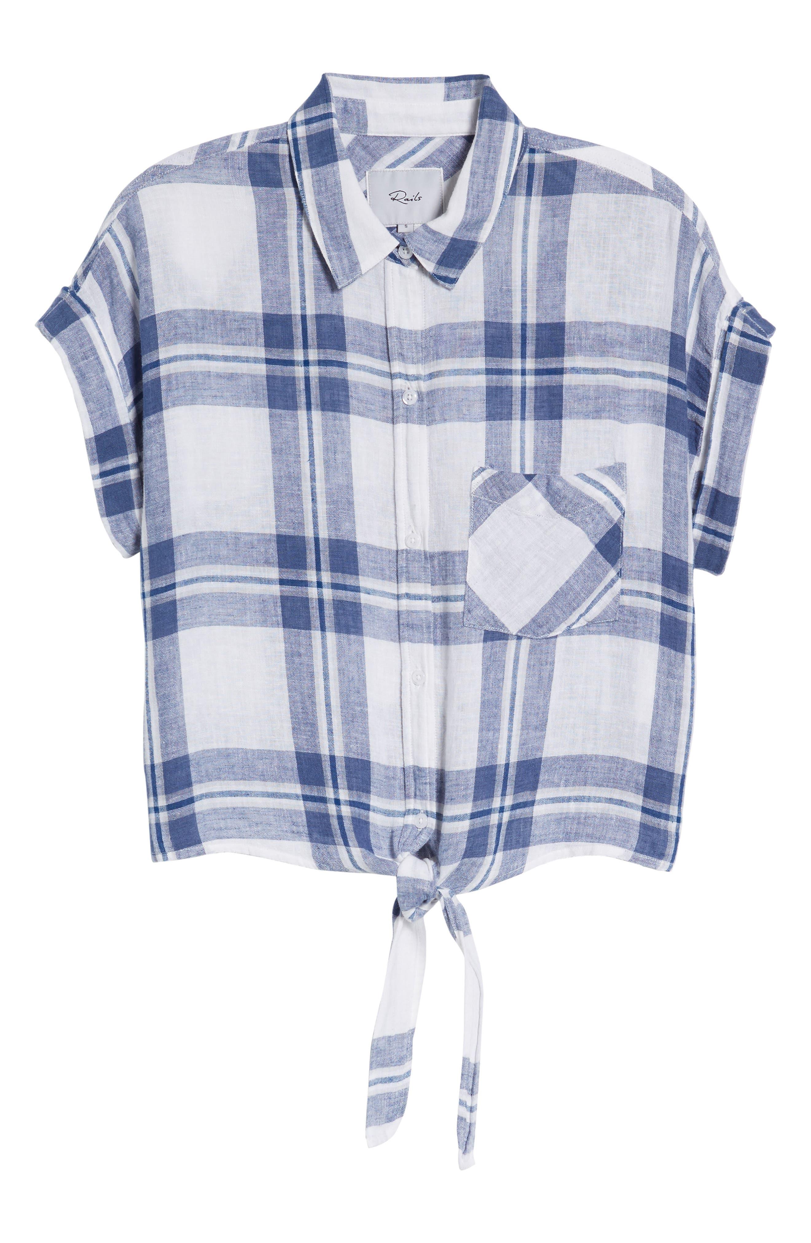 Amelie Tie Front Shirt,                             Alternate thumbnail 6, color,                             Lapis Coast White