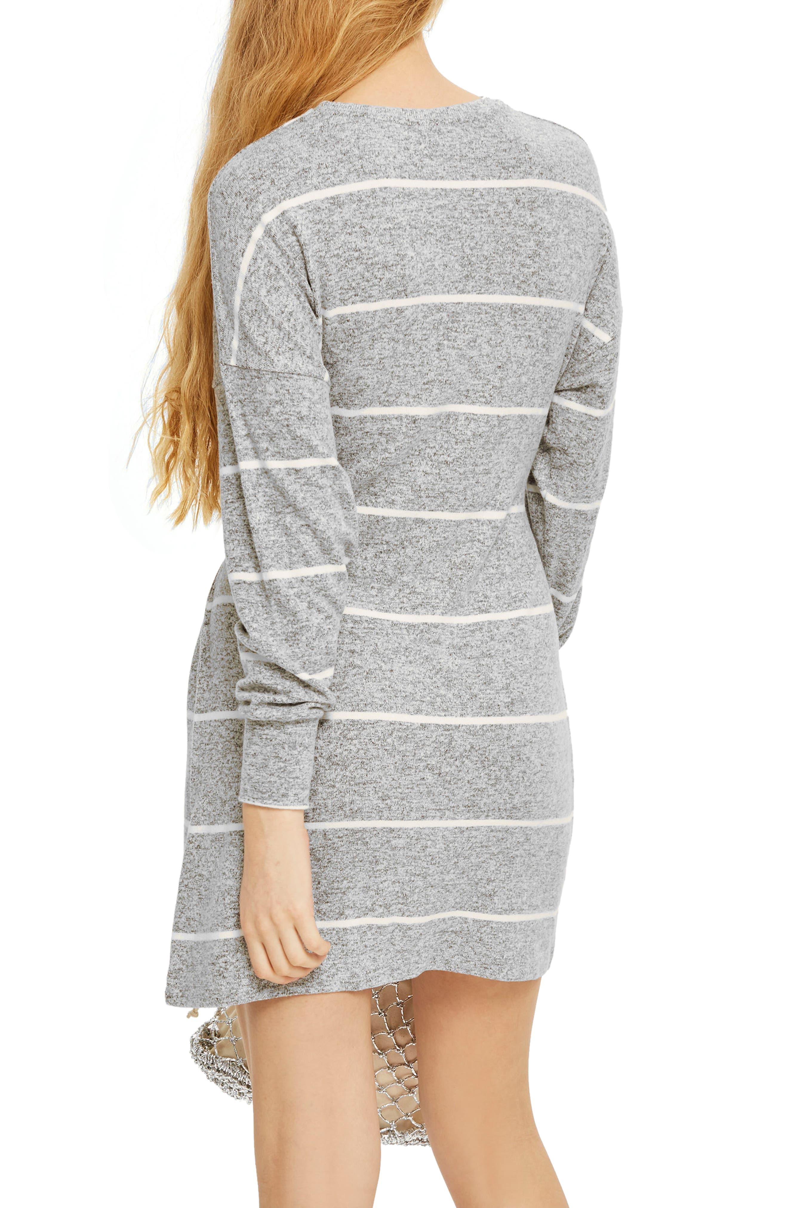 Stripe Cut & Sew Minidress,                             Alternate thumbnail 2, color,                             Grey Multi