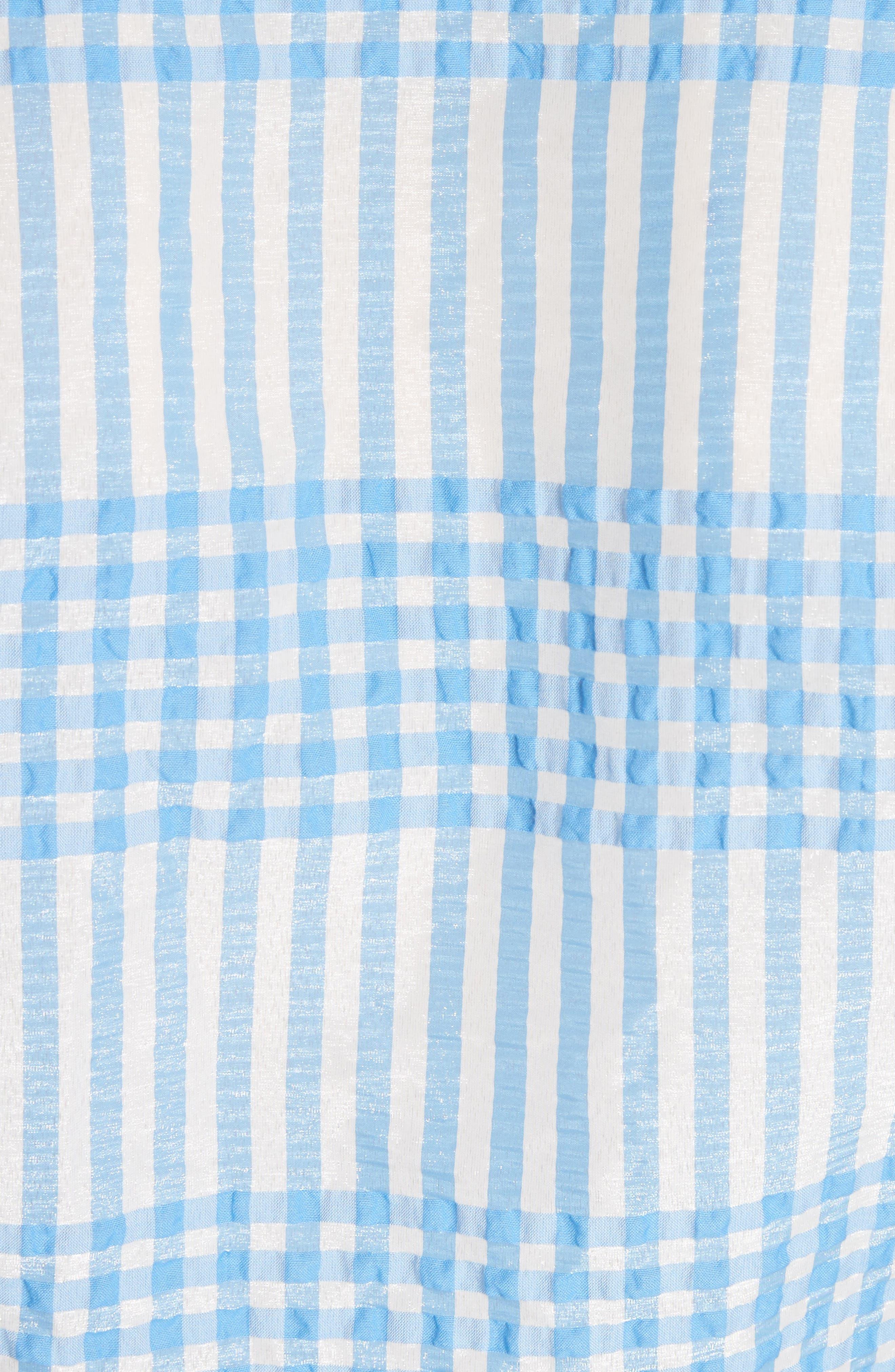 Charron Plaid Crop Blouse,                             Alternate thumbnail 5, color,                             Marina