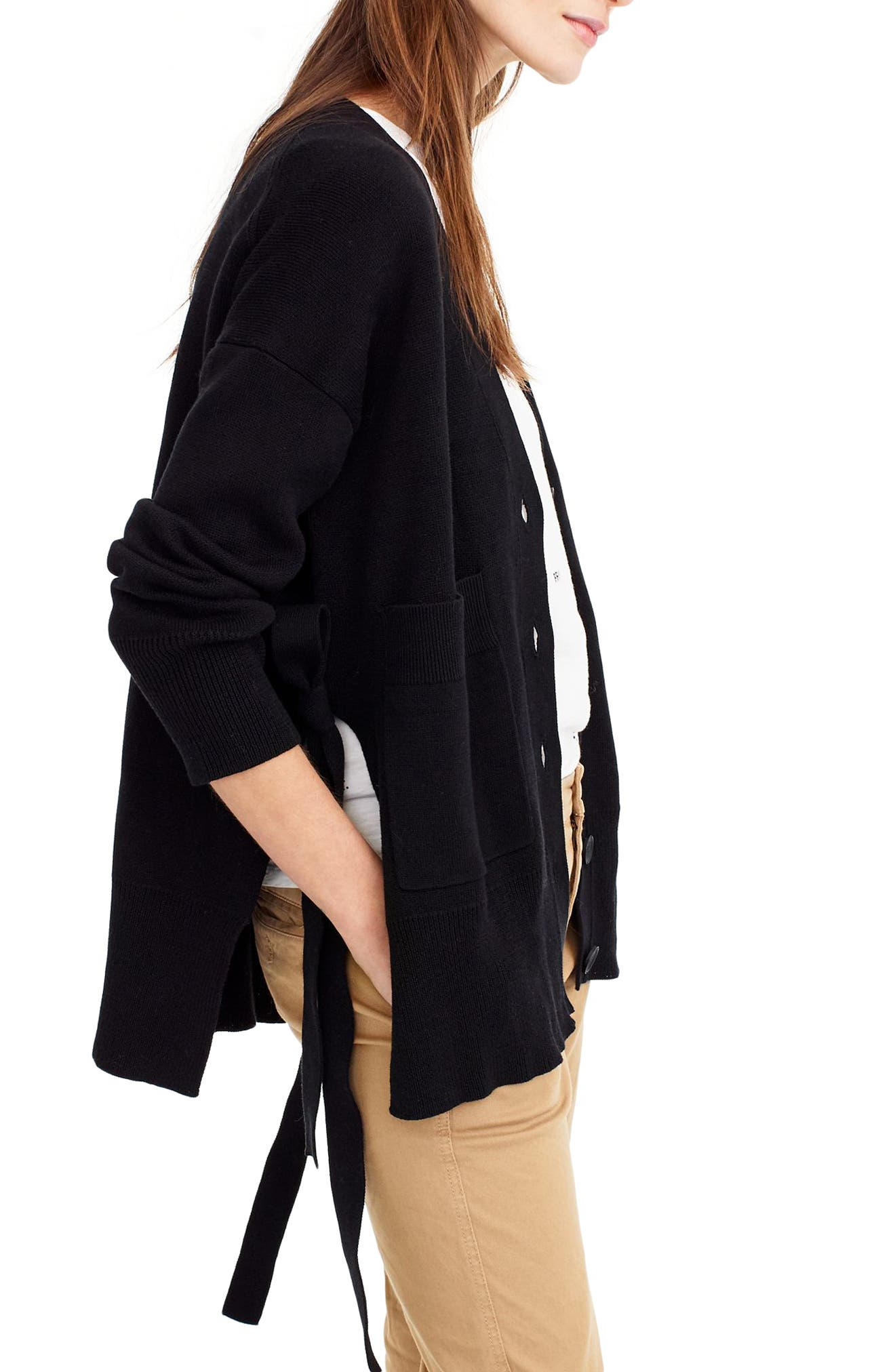 Slouchy Cardigan with Side Ties,                             Alternate thumbnail 2, color,                             Black