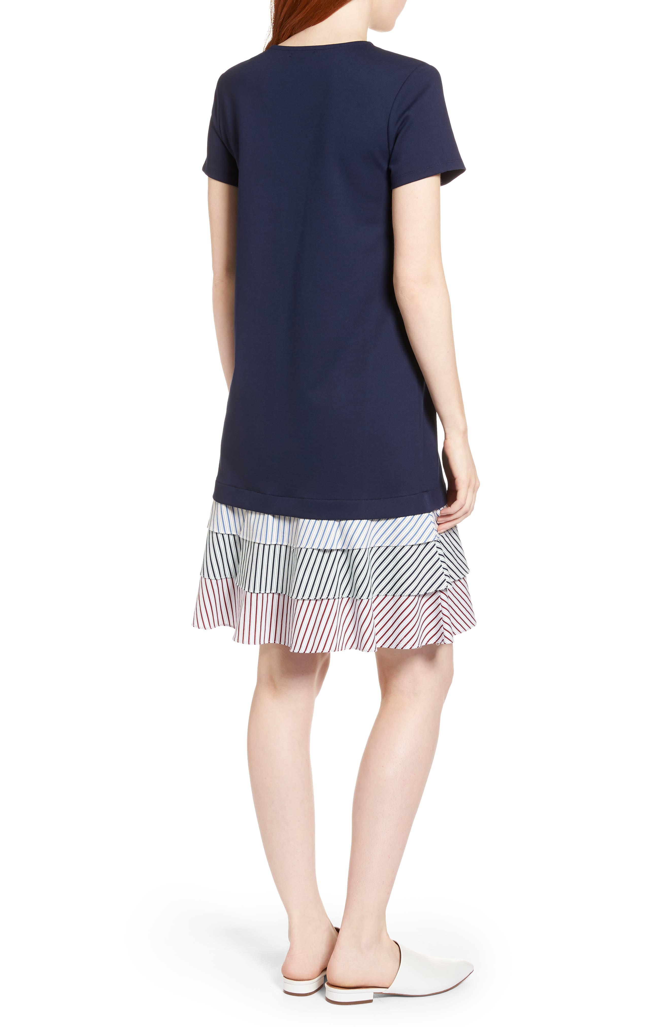 Ruffle Hem Knit Dress,                             Alternate thumbnail 2, color,                             Navy Peacoat