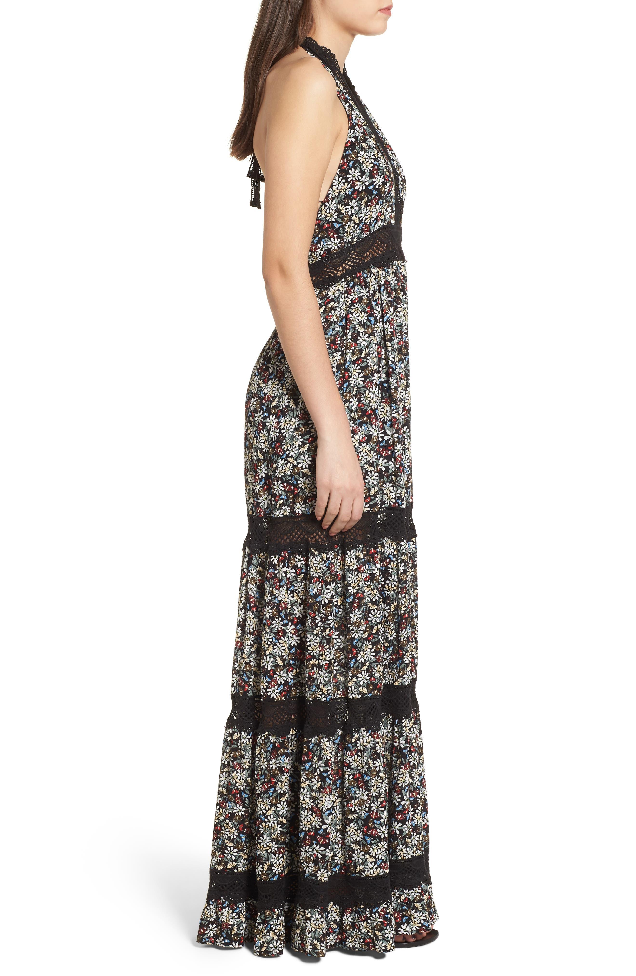 Flora Halter Neck Maxi Dress,                             Alternate thumbnail 4, color,                             Multi Black
