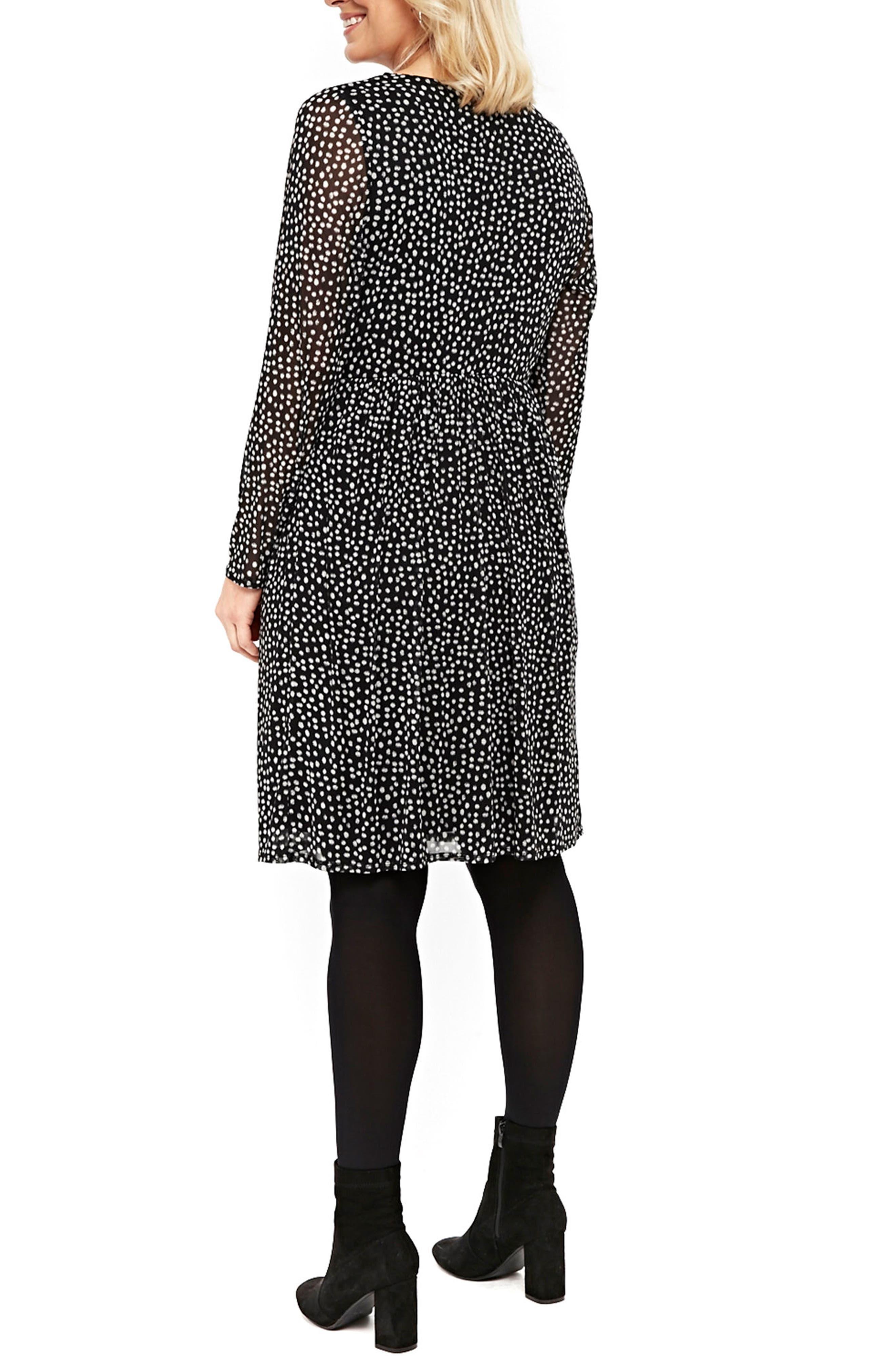 Smudge Print Fit & Flare Dress,                             Alternate thumbnail 2, color,                             Black