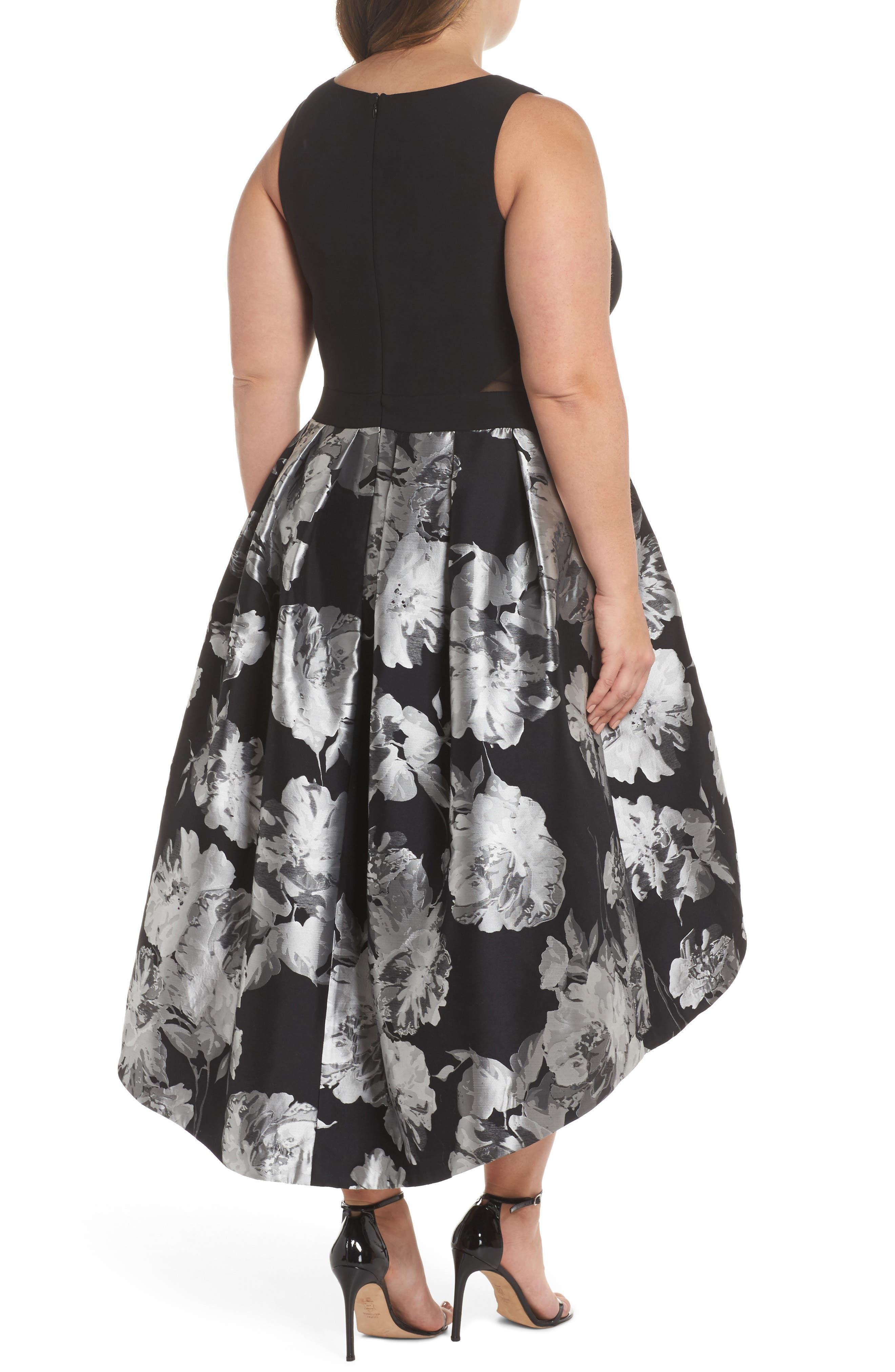 Brocade High/Low Dress,                             Alternate thumbnail 2, color,                             Black/ Silver