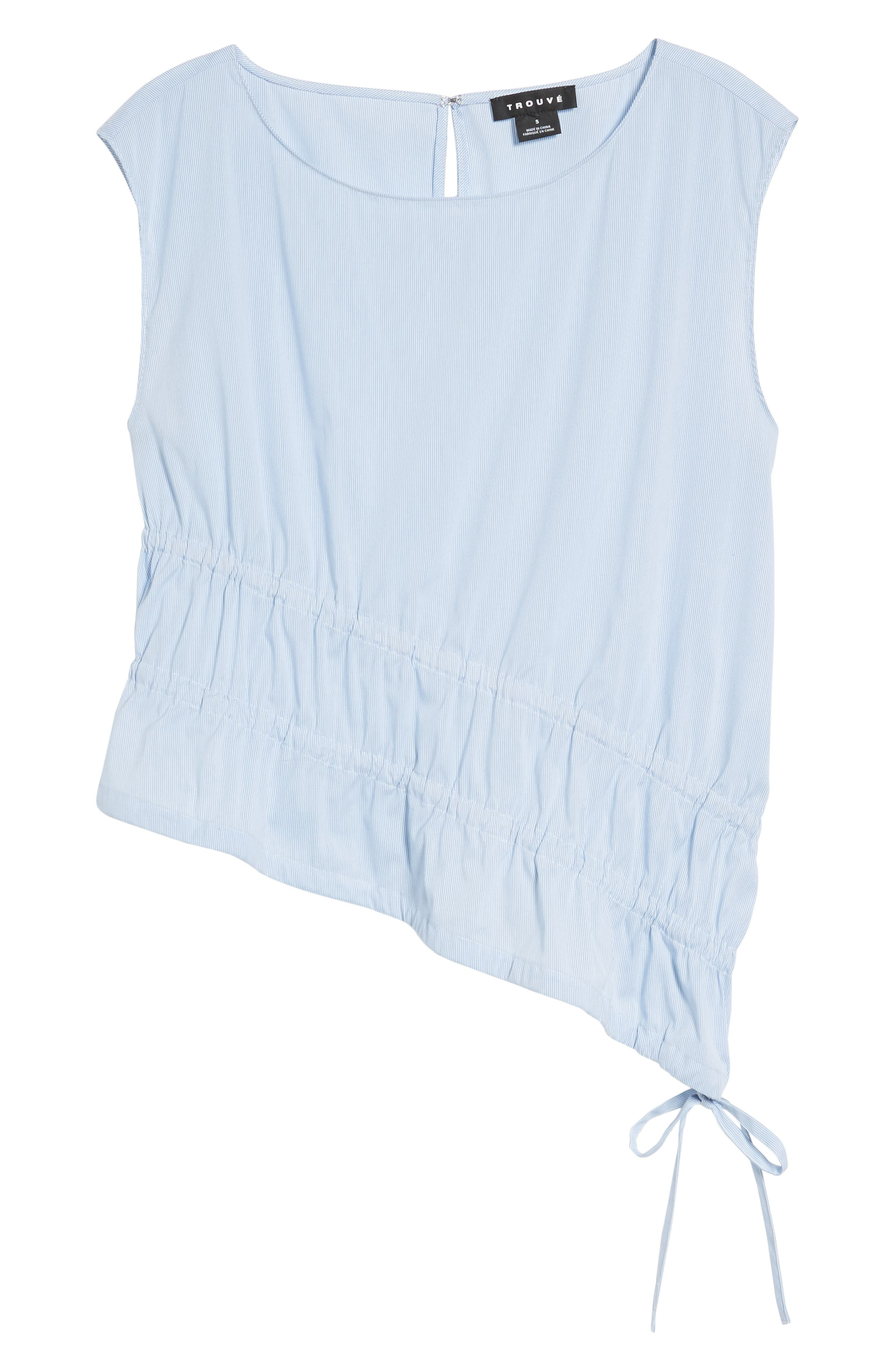 Ruched Poplin Top,                             Alternate thumbnail 7, color,                             Blue/ White Pinstripe