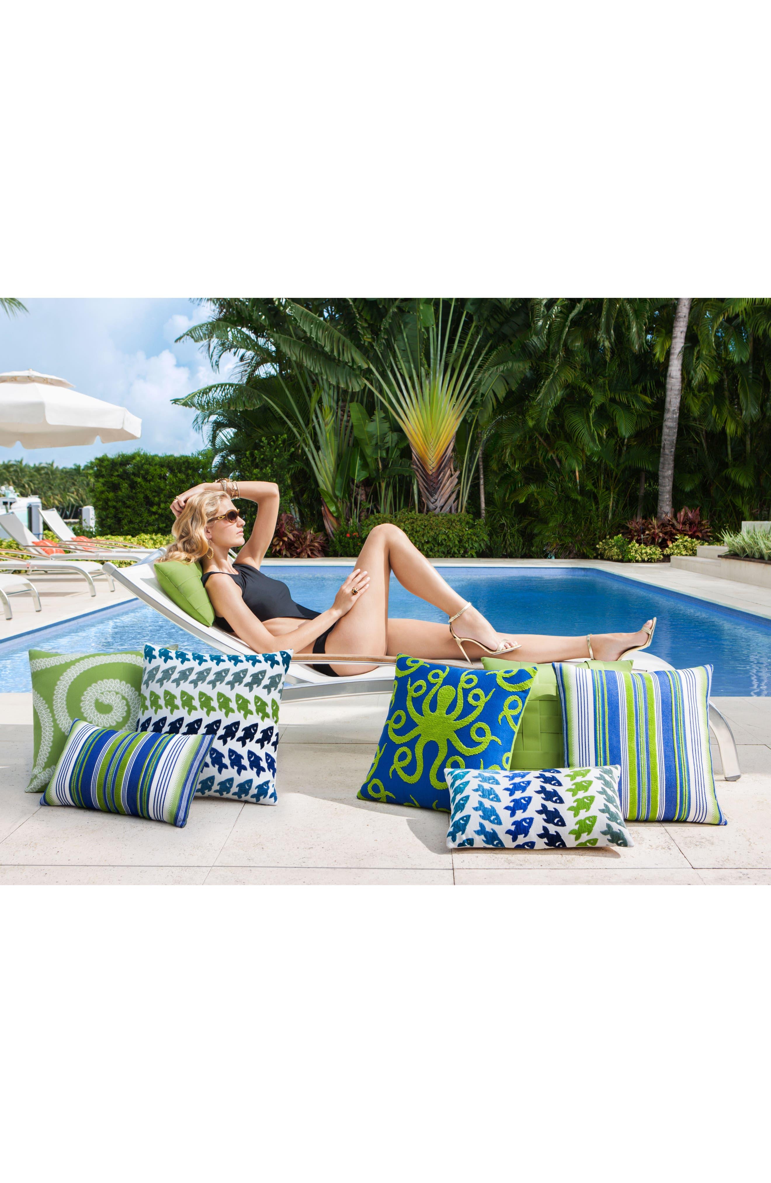 Deep Sea Stripe Indoor/Outdoor Accent Pillow,                             Alternate thumbnail 2, color,                             Blue/ Green