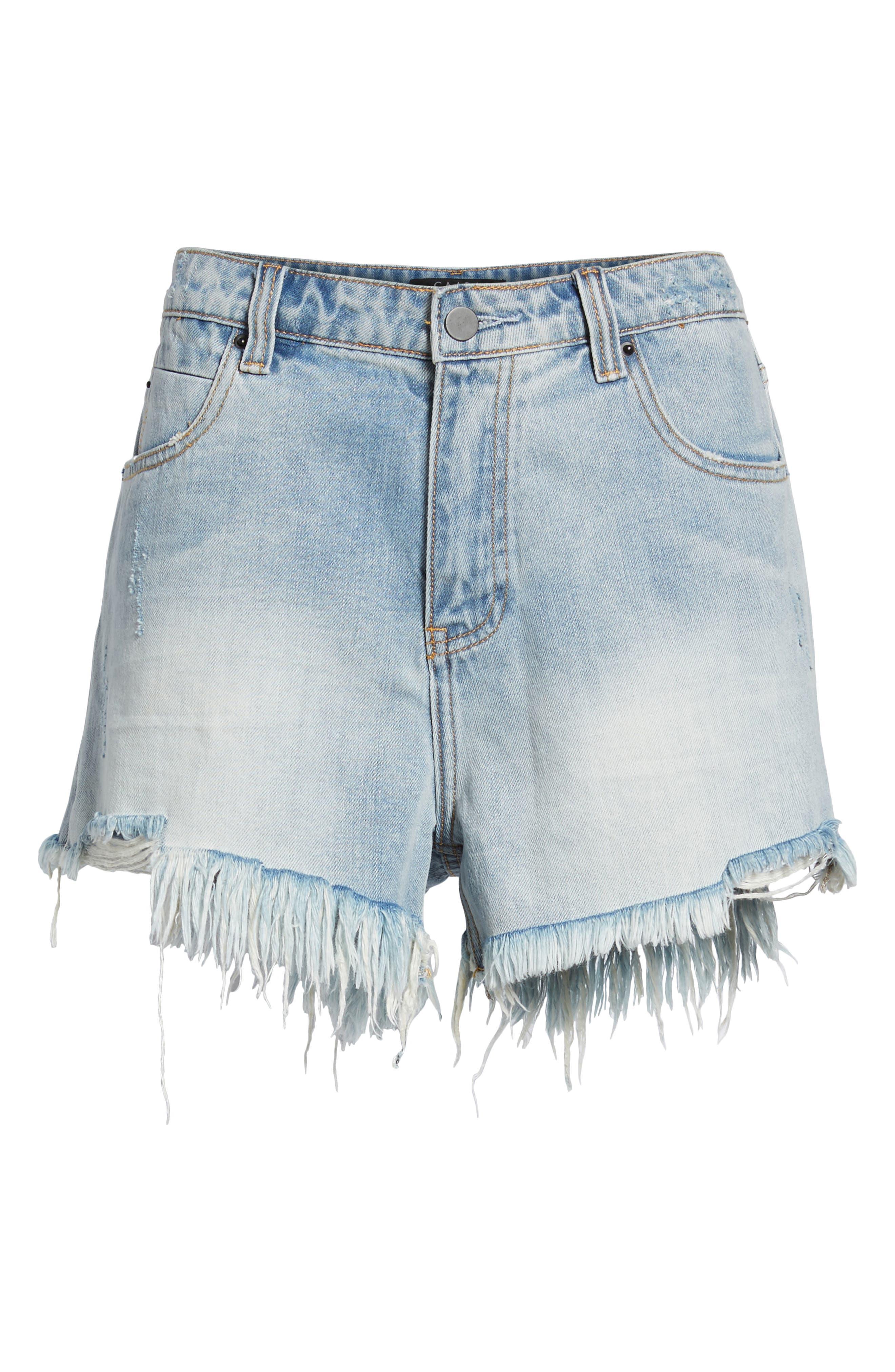 Arien High Waist Cutoff Denim Shorts,                             Alternate thumbnail 6, color,                             Washed Blue
