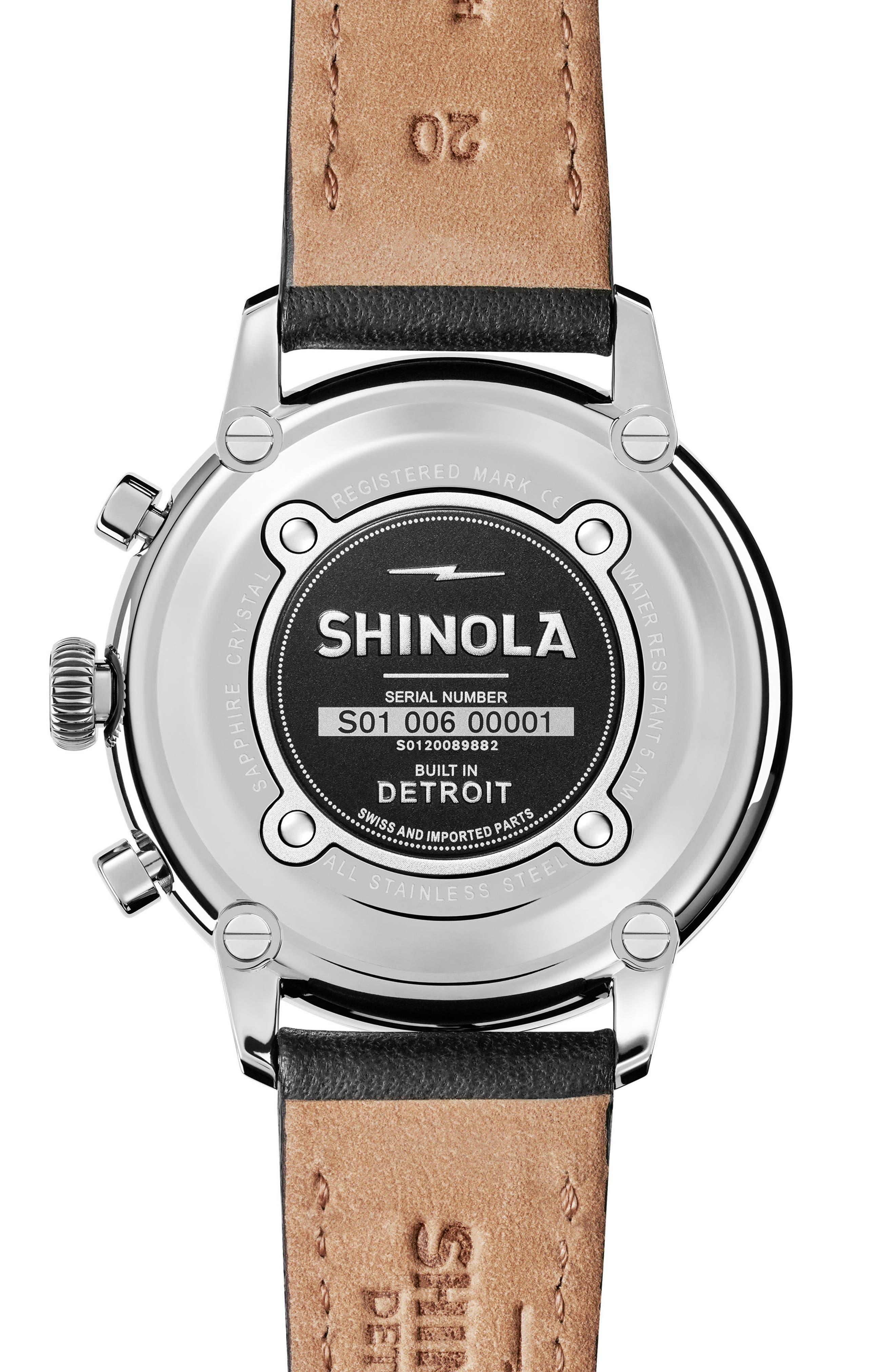 The Bedrock Chronograph Leather Strap Watch, 42mm,                             Alternate thumbnail 4, color,                             Black/ Silver