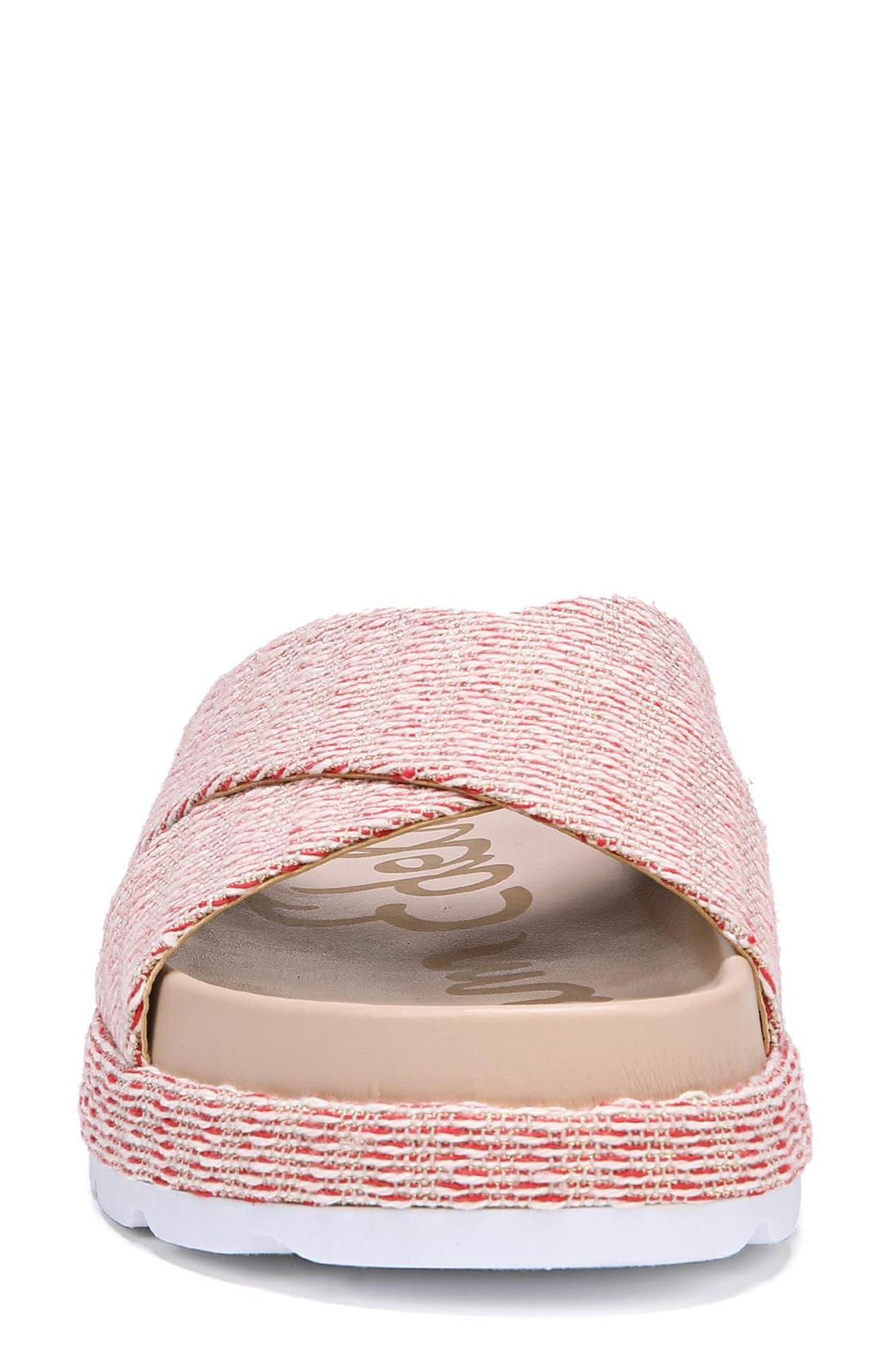 Sadia Slide Sandal,                             Alternate thumbnail 4, color,                             Candy Red Stripe Print Fabric