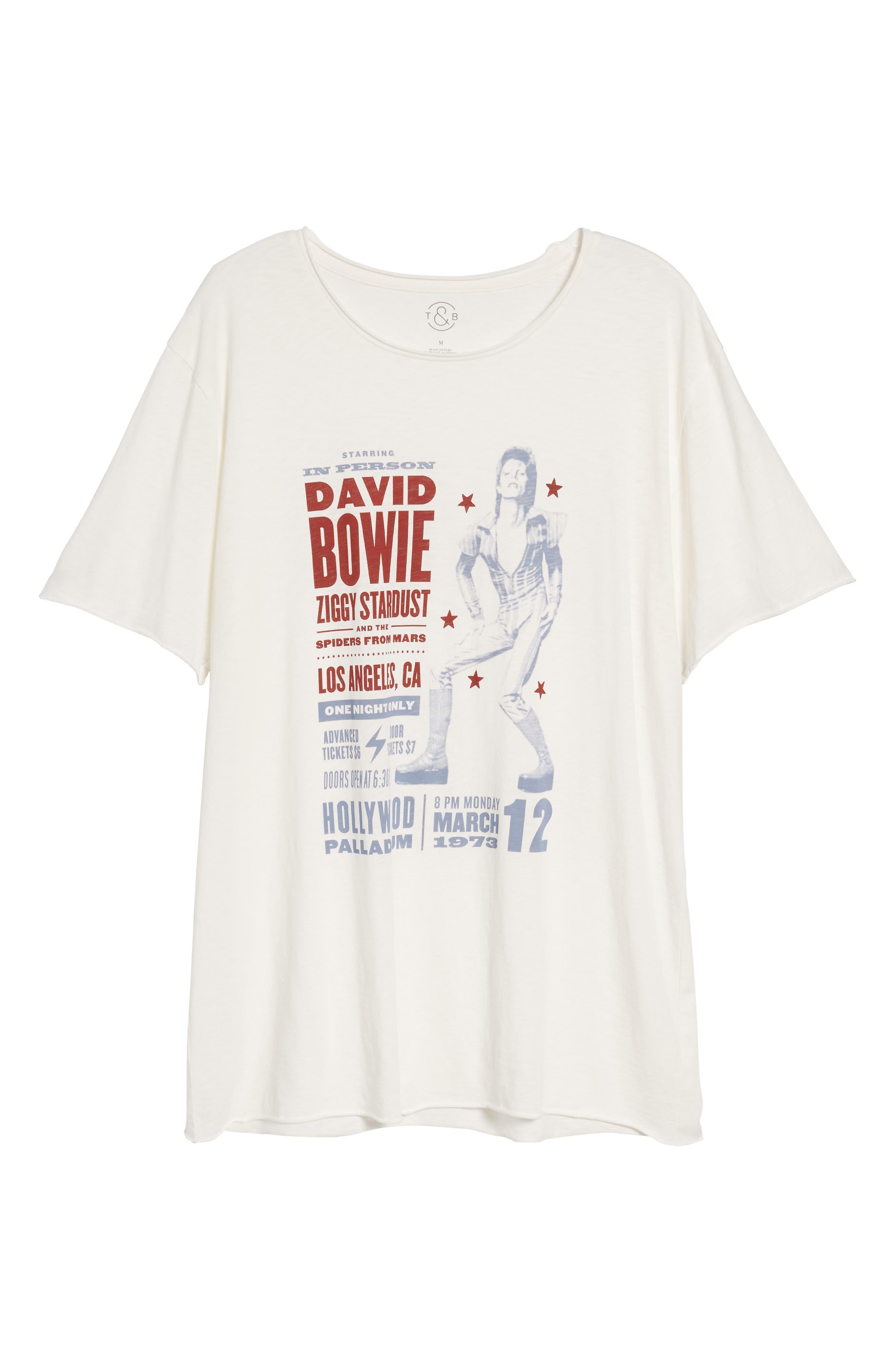 David Bowie Crewneck T-Shirt,                             Alternate thumbnail 6, color,                             Ivory David Bowie