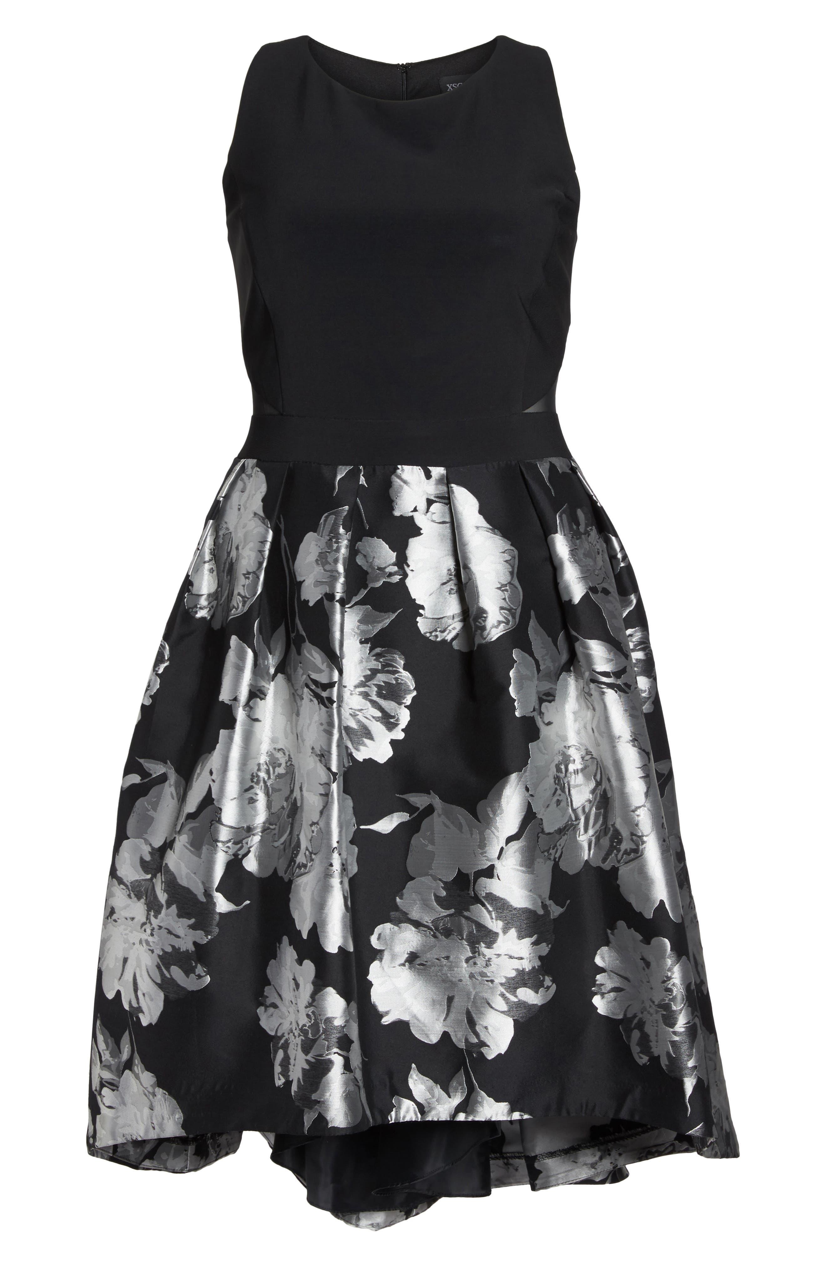 Brocade High/Low Dress,                             Alternate thumbnail 6, color,                             Black/ Silver