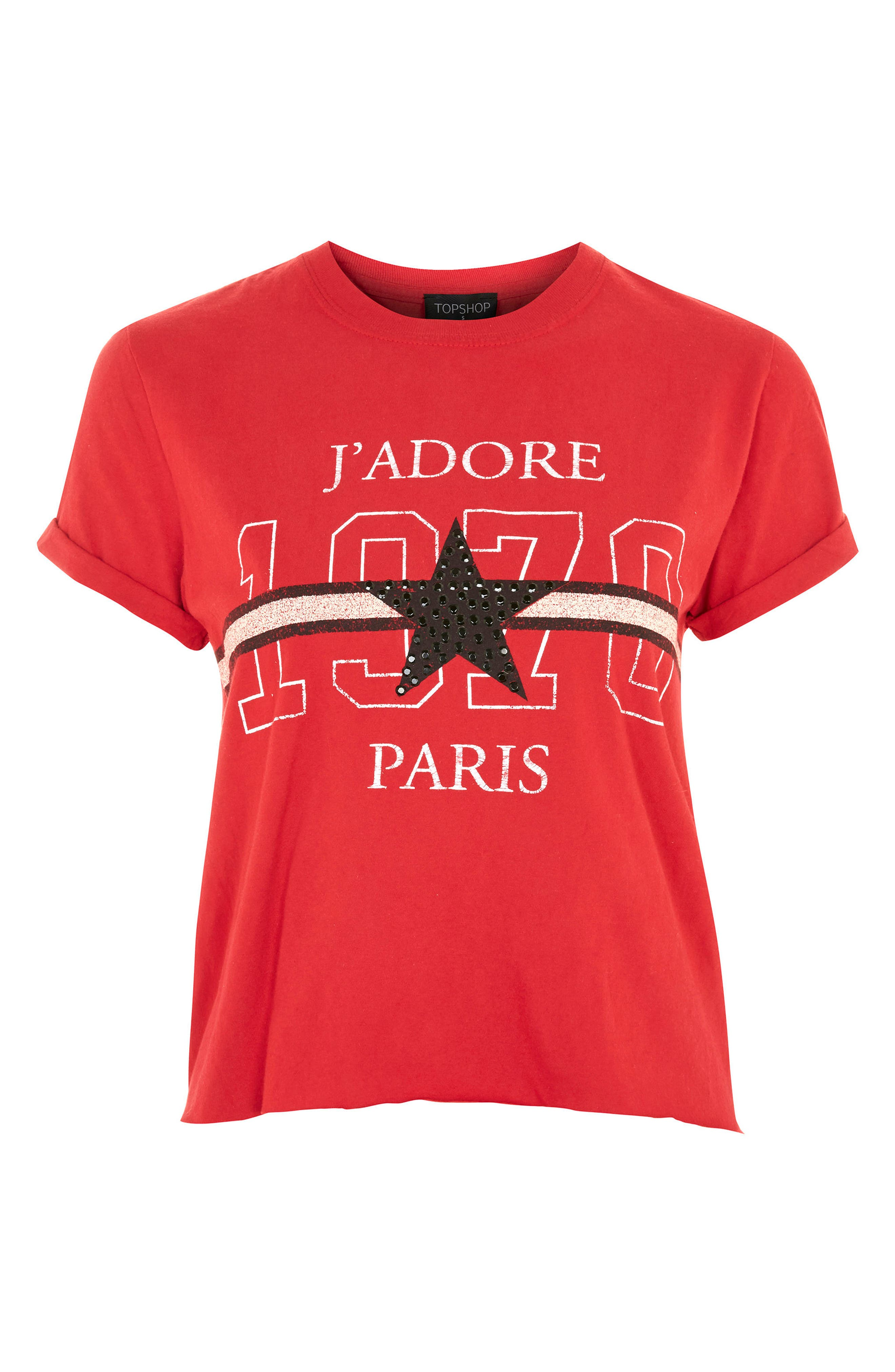 J'Adore Studded Crop T-Shirt,                             Alternate thumbnail 4, color,                             Red Multi