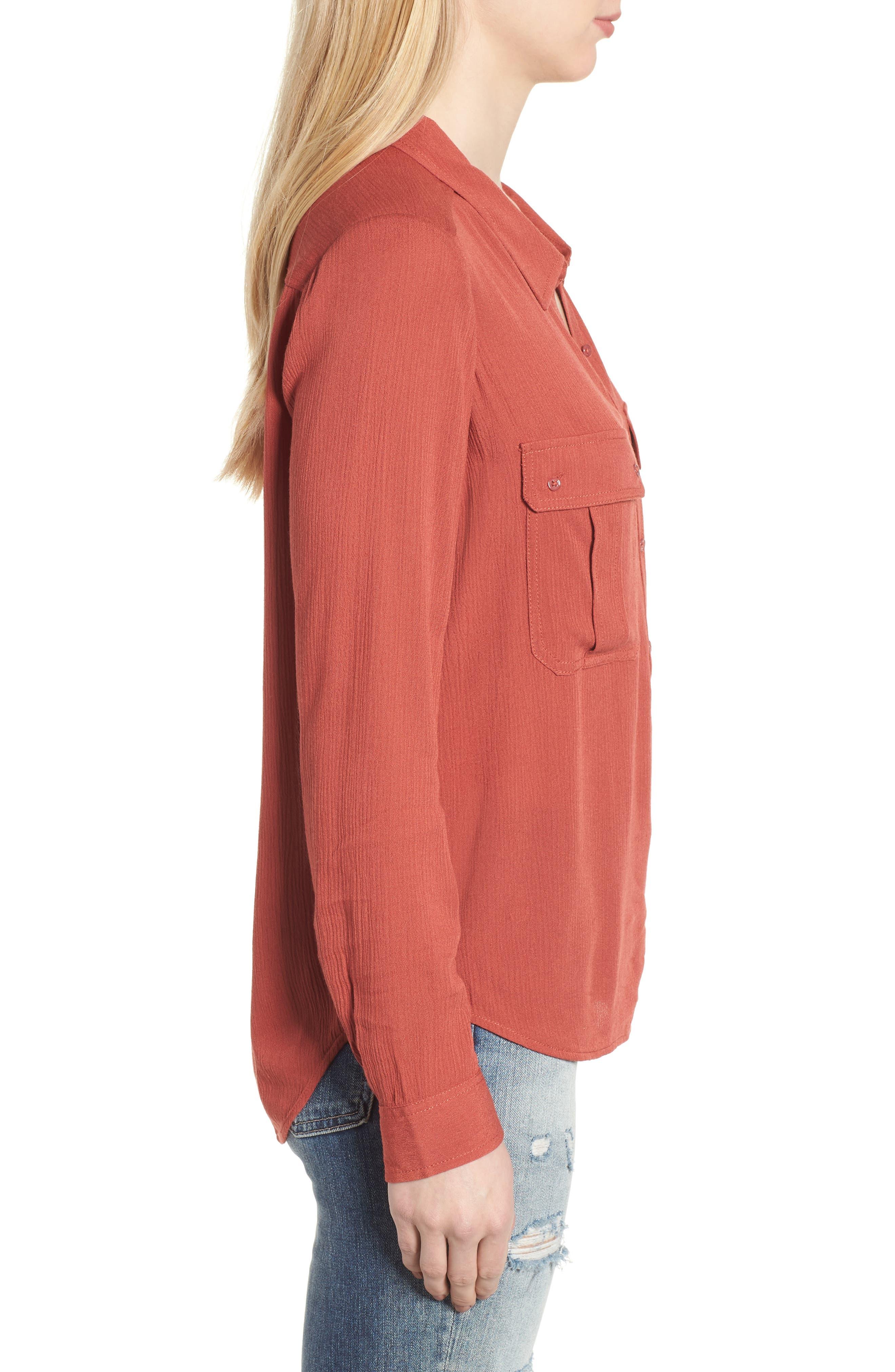 Nevada Cotton Henley Shirt,                             Alternate thumbnail 3, color,                             Firebrick