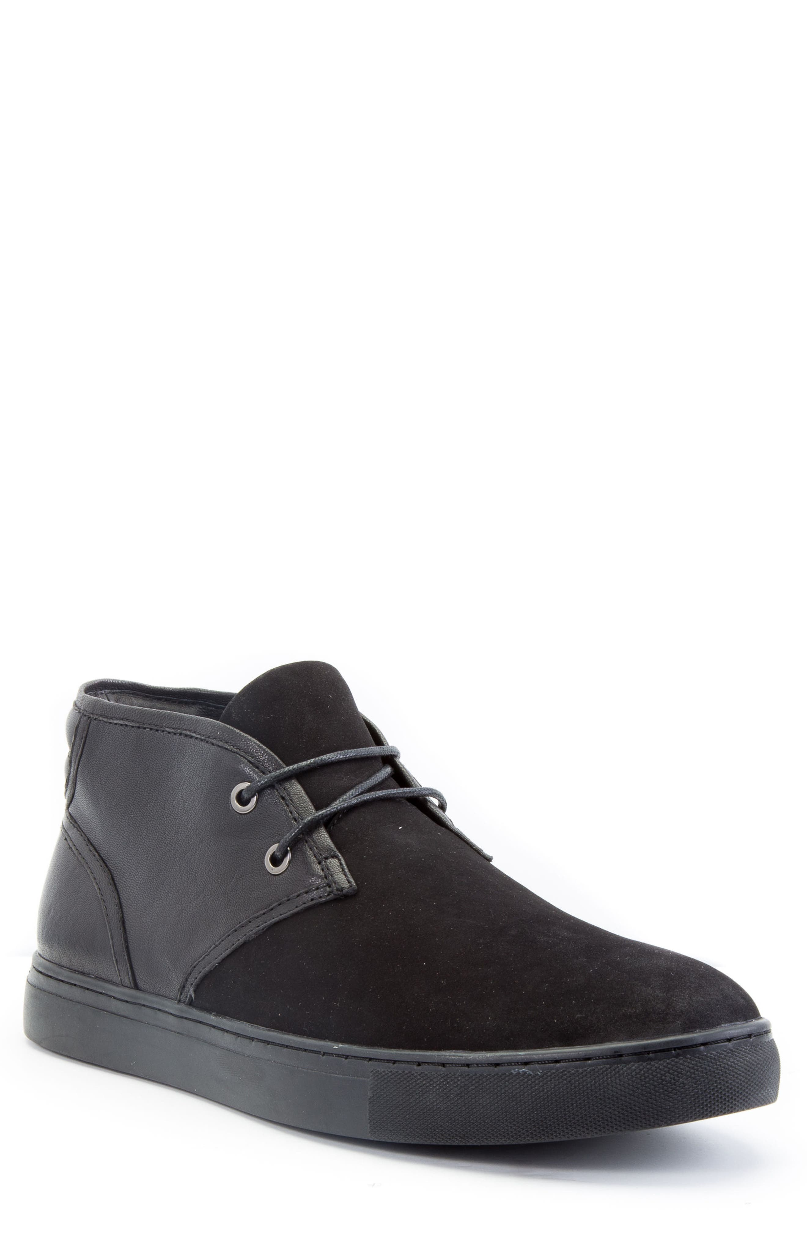Catlett Chukka Sneaker,                             Main thumbnail 1, color,                             Black Suede/ Leather