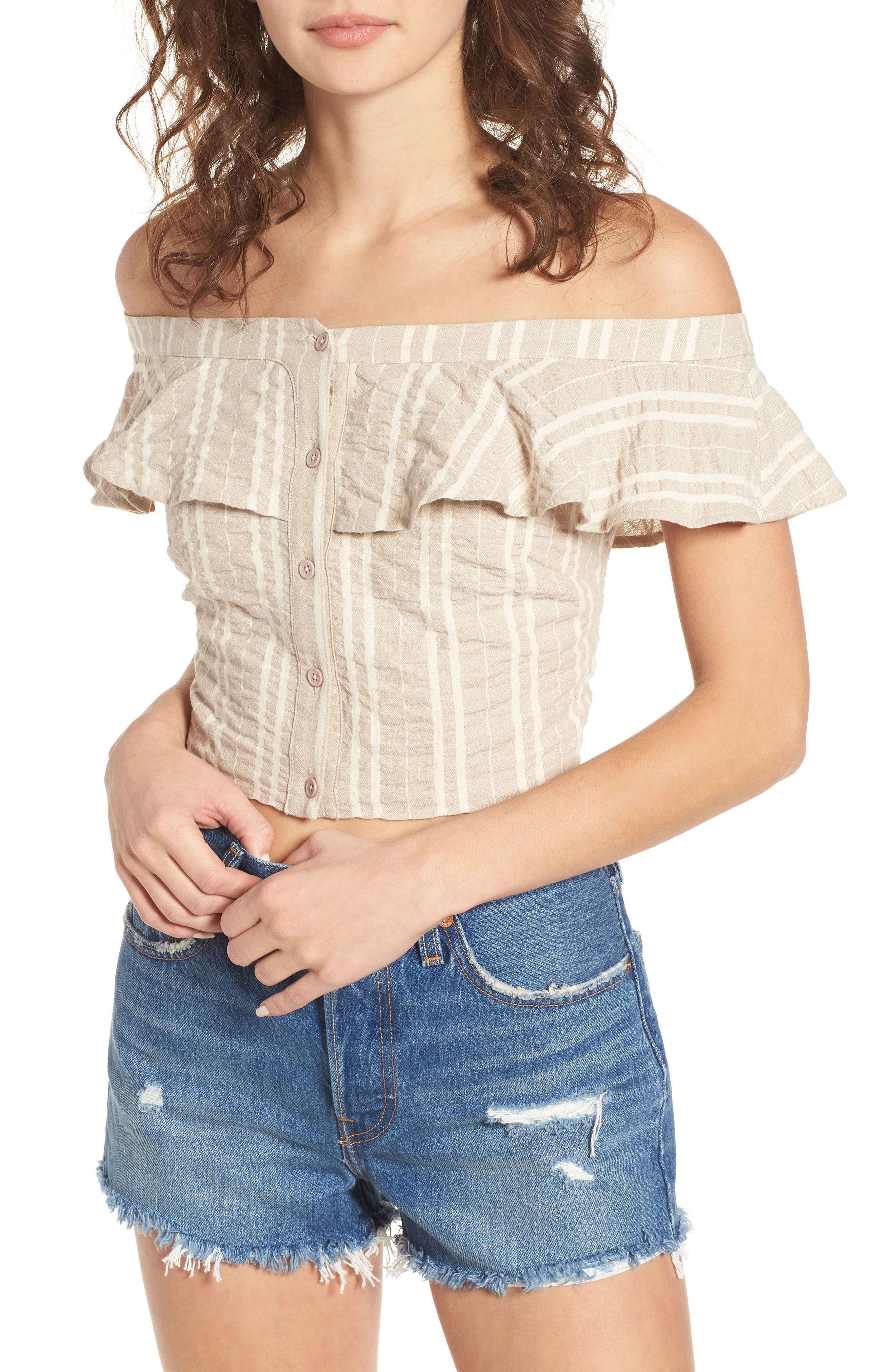 Stella Ruffle Off the Shoulder Crop Top,                             Main thumbnail 1, color,                             Creme