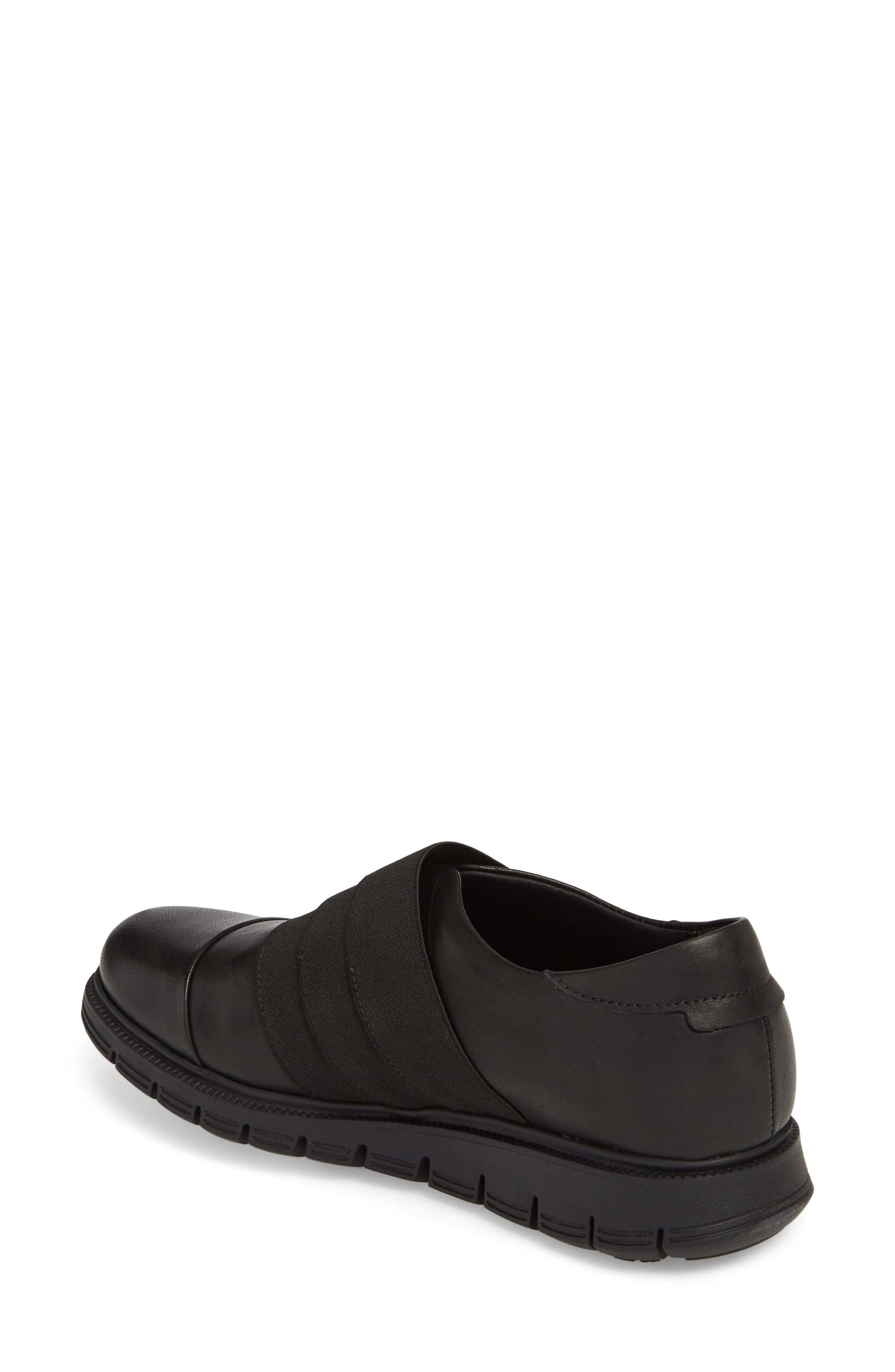Grace Slip-On Sneaker,                             Alternate thumbnail 2, color,                             Black Leather