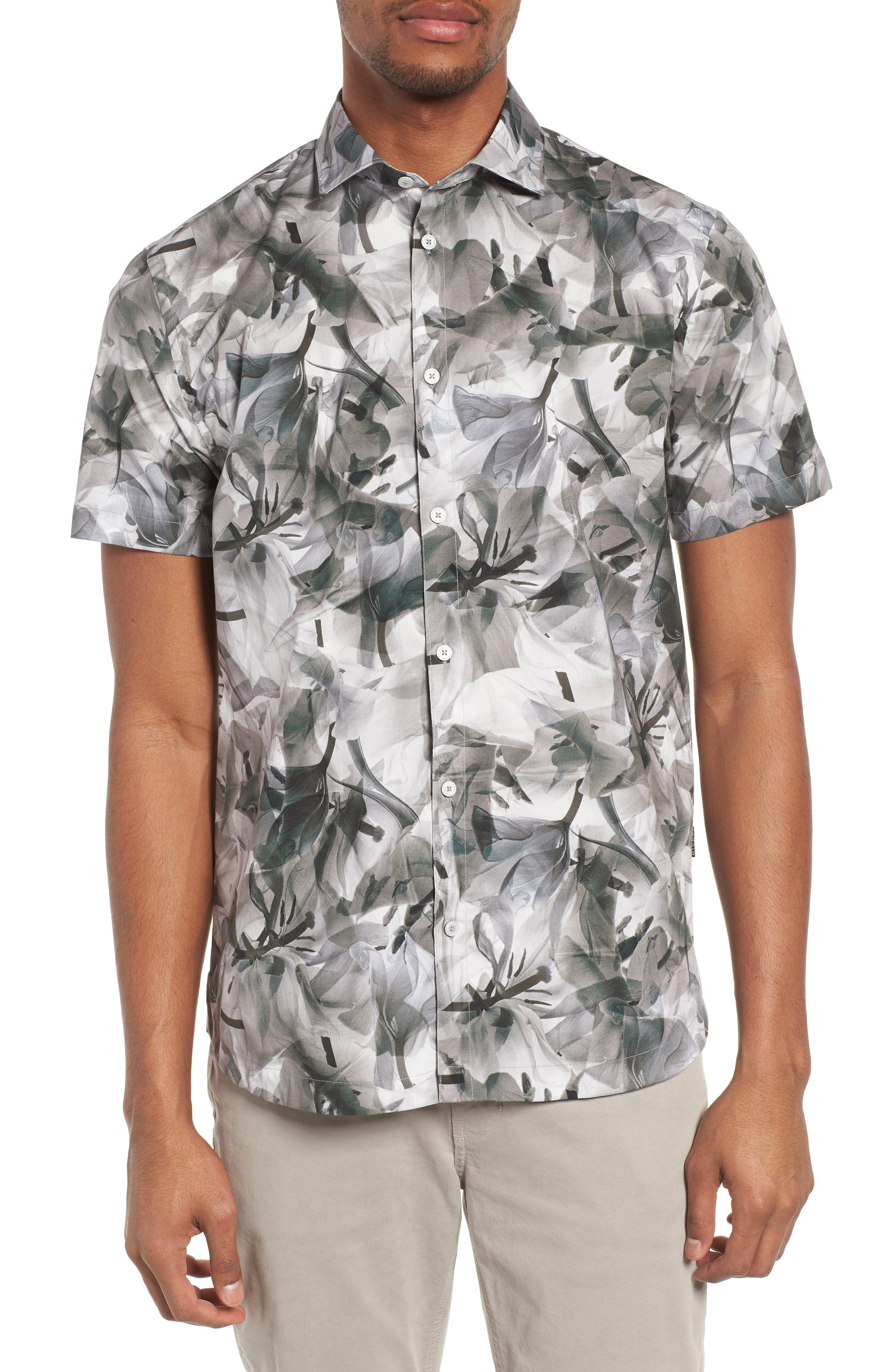 Cabana Regular Fit Sport Shirt,                             Main thumbnail 1, color,                             Floral X-Ray