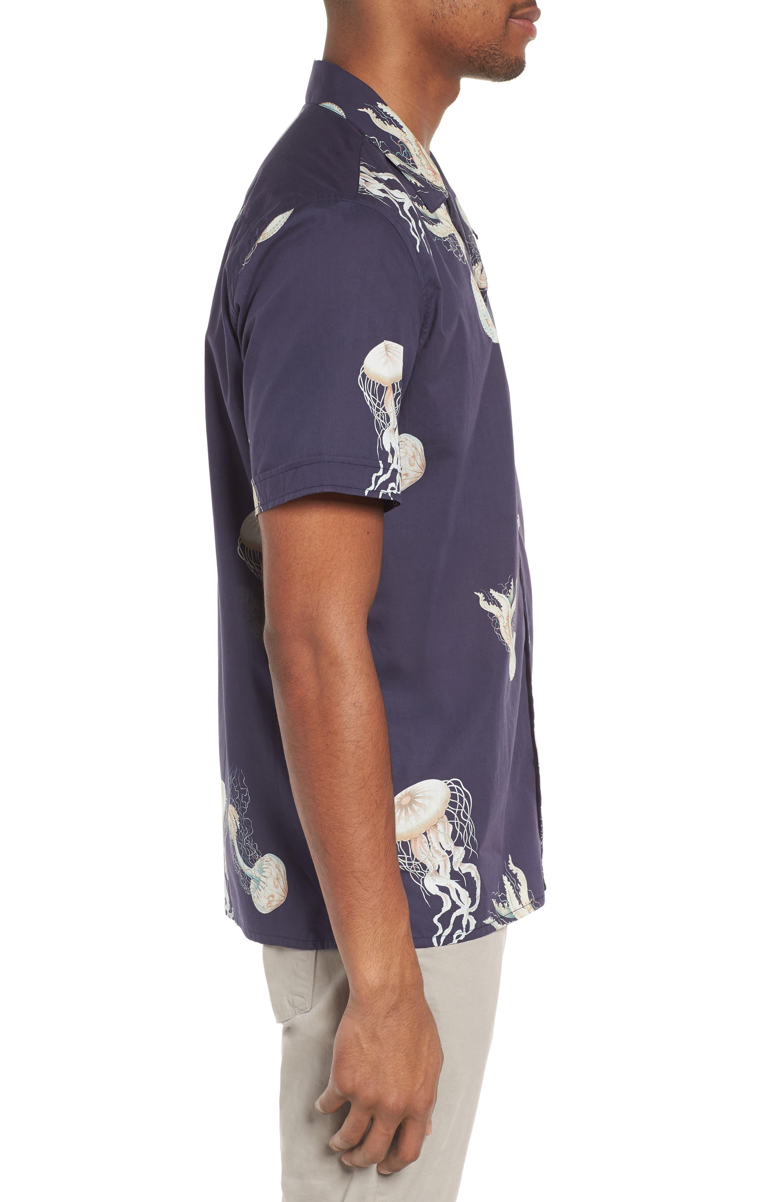 Playa Stripe Oversize Camp Shirt,                             Alternate thumbnail 4, color,                             Jellyfish