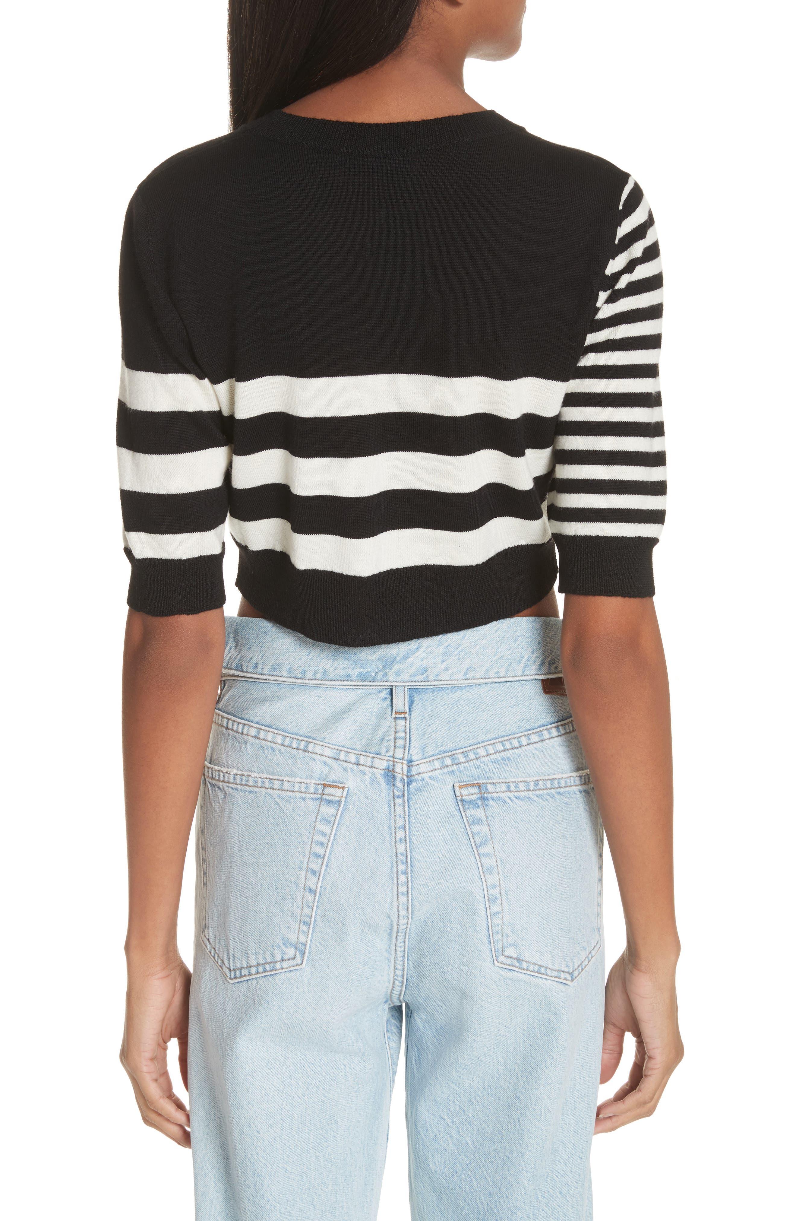 Love Stripe Crop Wool Sweater,                             Alternate thumbnail 2, color,                             Black/ White