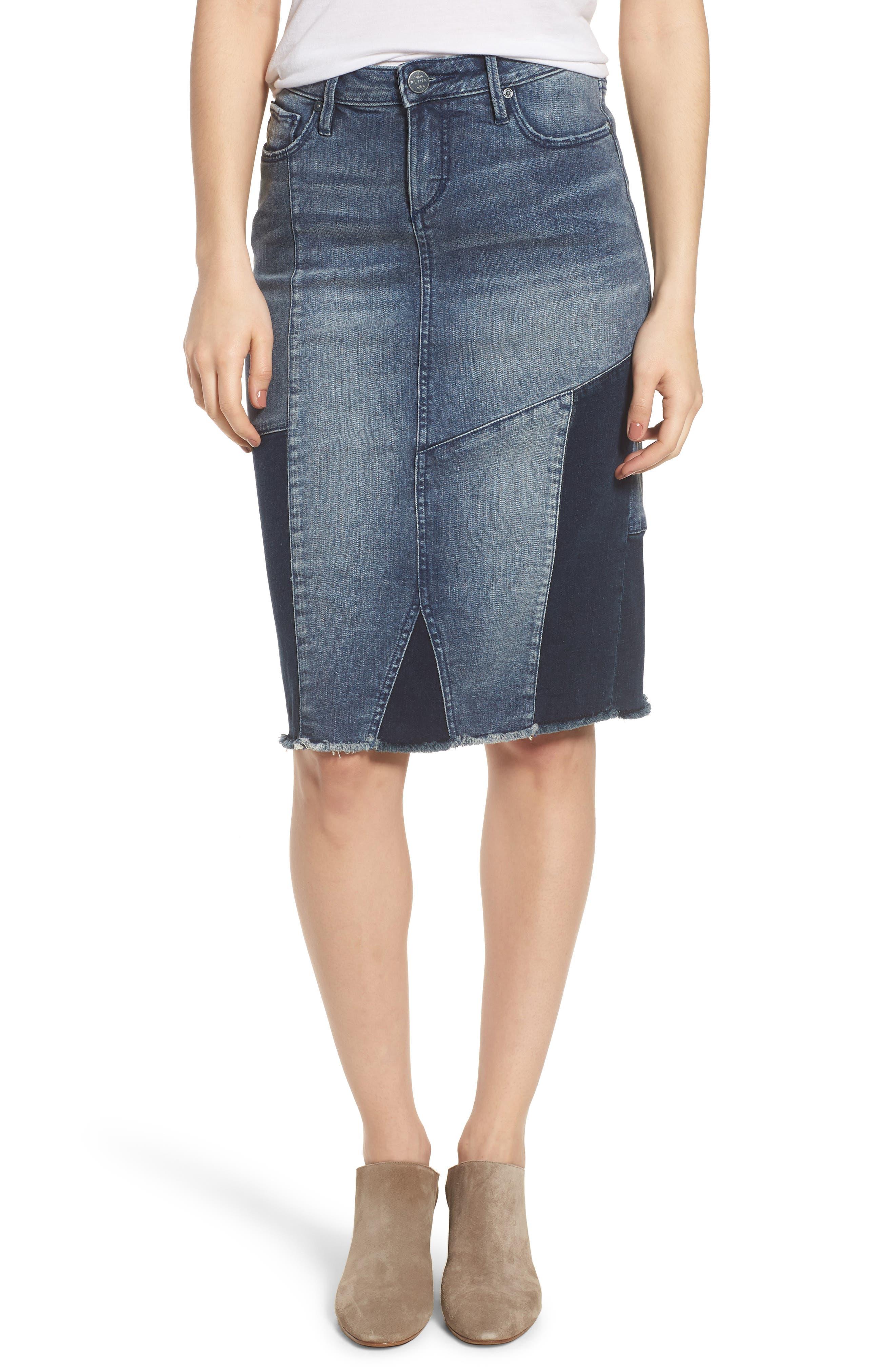 Patchwork Denim Skirt,                         Main,                         color, Vanessa