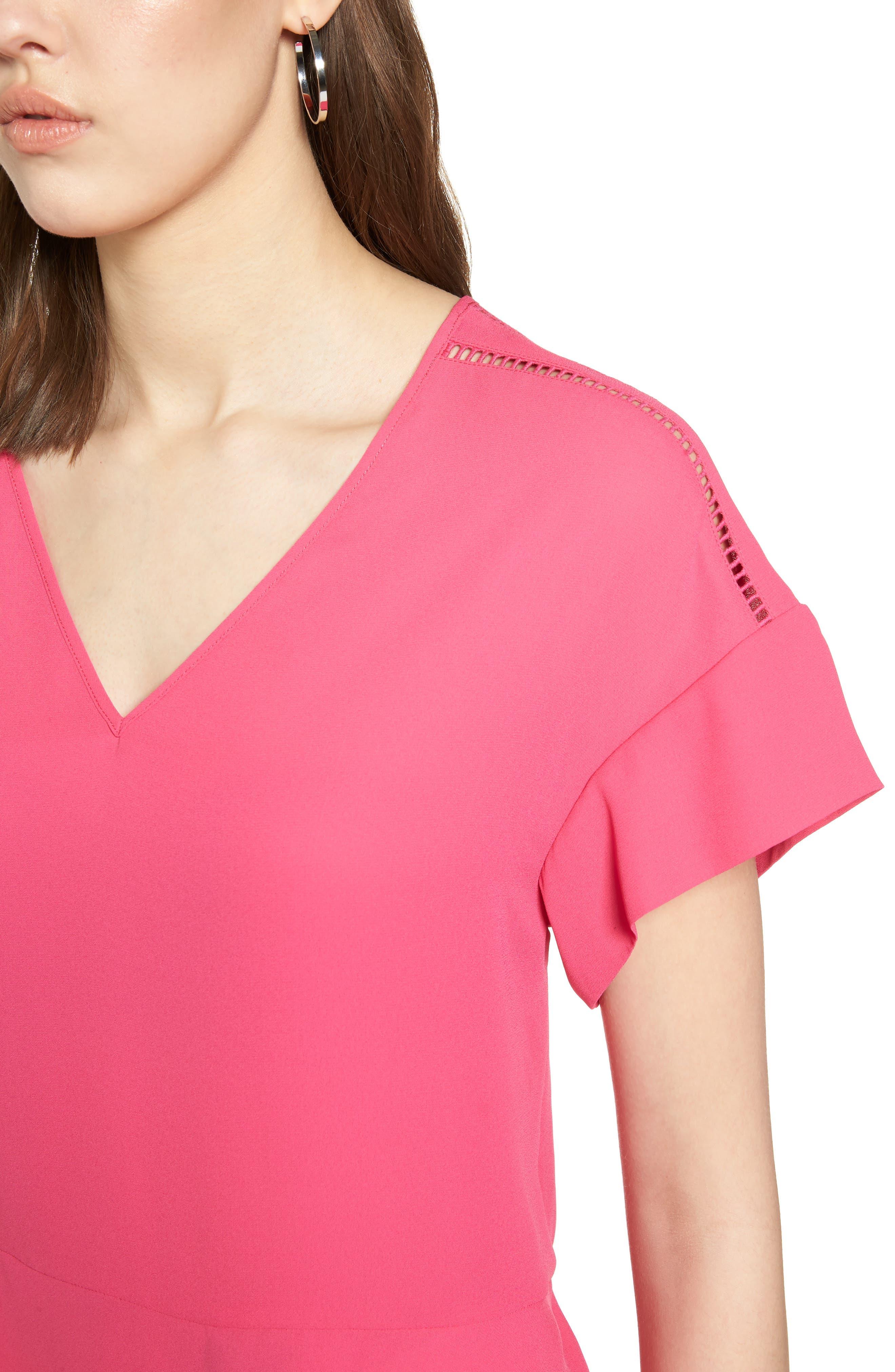 Ruffle Sleeve Peplum Stretch Cotton Blend Top,                             Alternate thumbnail 4, color,                             Pink Cabaret