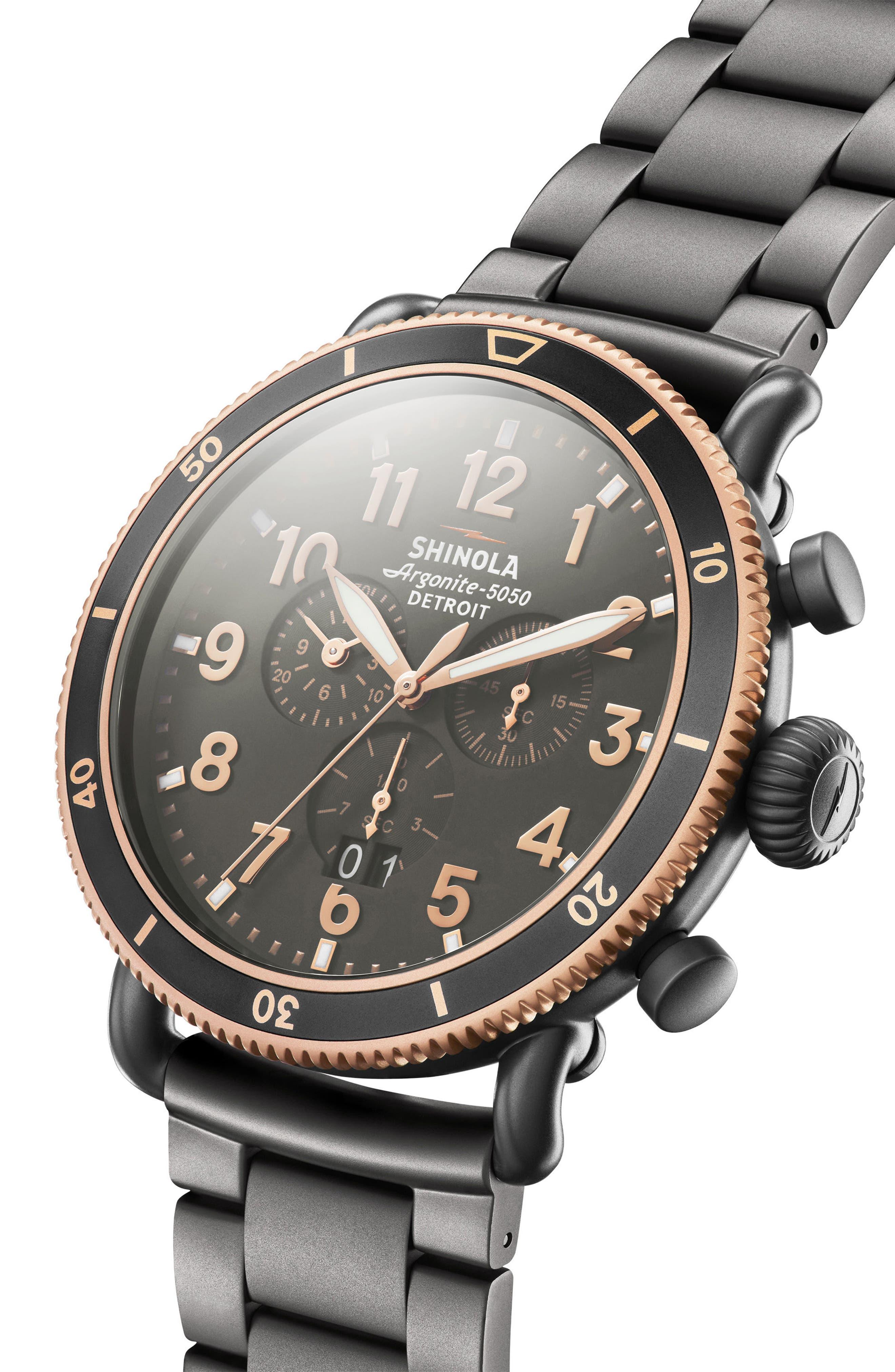 The Runwell Chronograph Bracelet Watch, 48mm,                             Alternate thumbnail 3, color,                             Gunmetal/ Stone/ Gunmetal