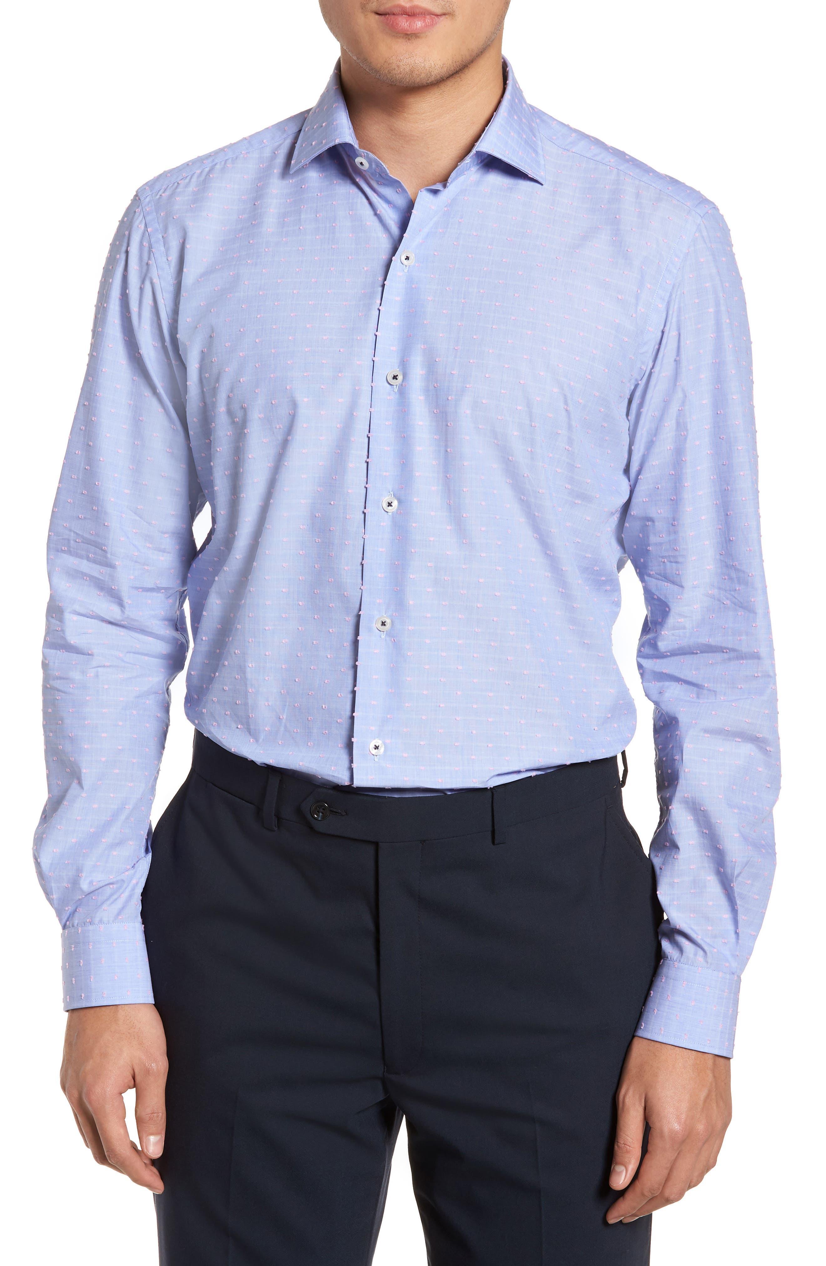 Tailored Fit Soft Touch Fil Coupé Sport Shirt,                         Main,                         color, Blue