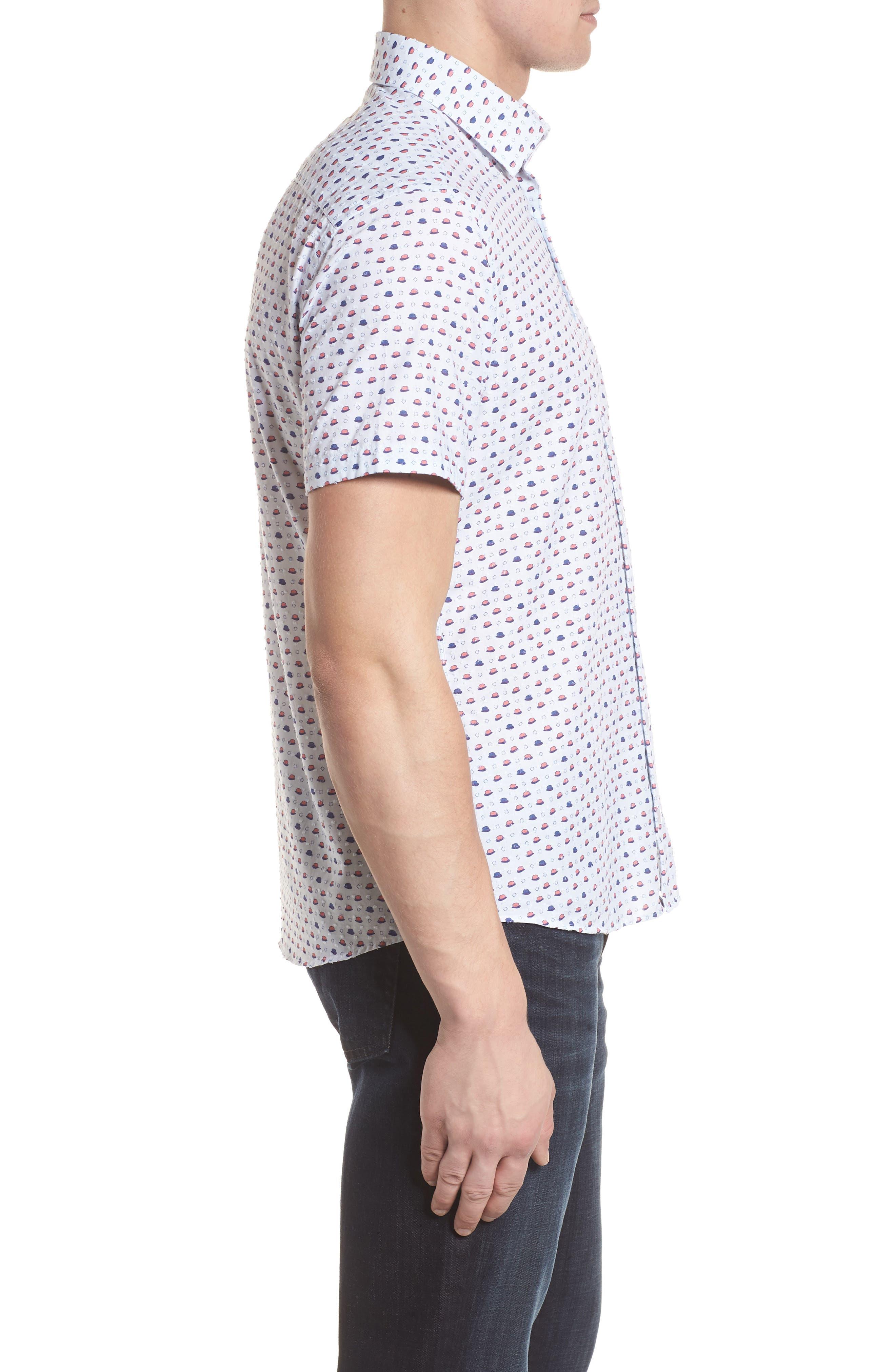 Contemporary Fit Bowler Hat Print Sport Shirt,                             Alternate thumbnail 3, color,                             White