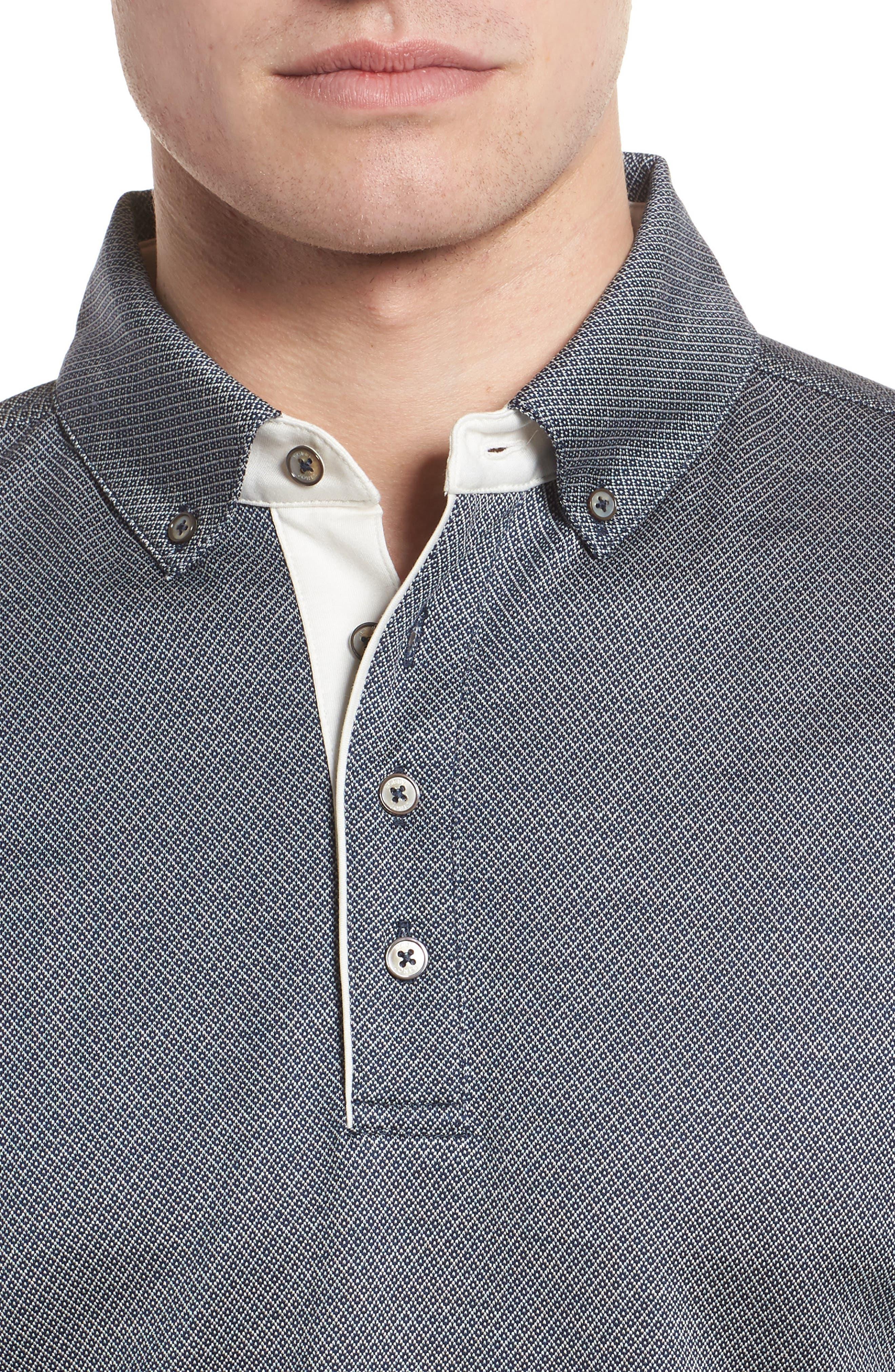 Mercerized Cotton Jacquard Polo,                             Alternate thumbnail 4, color,                             Navy