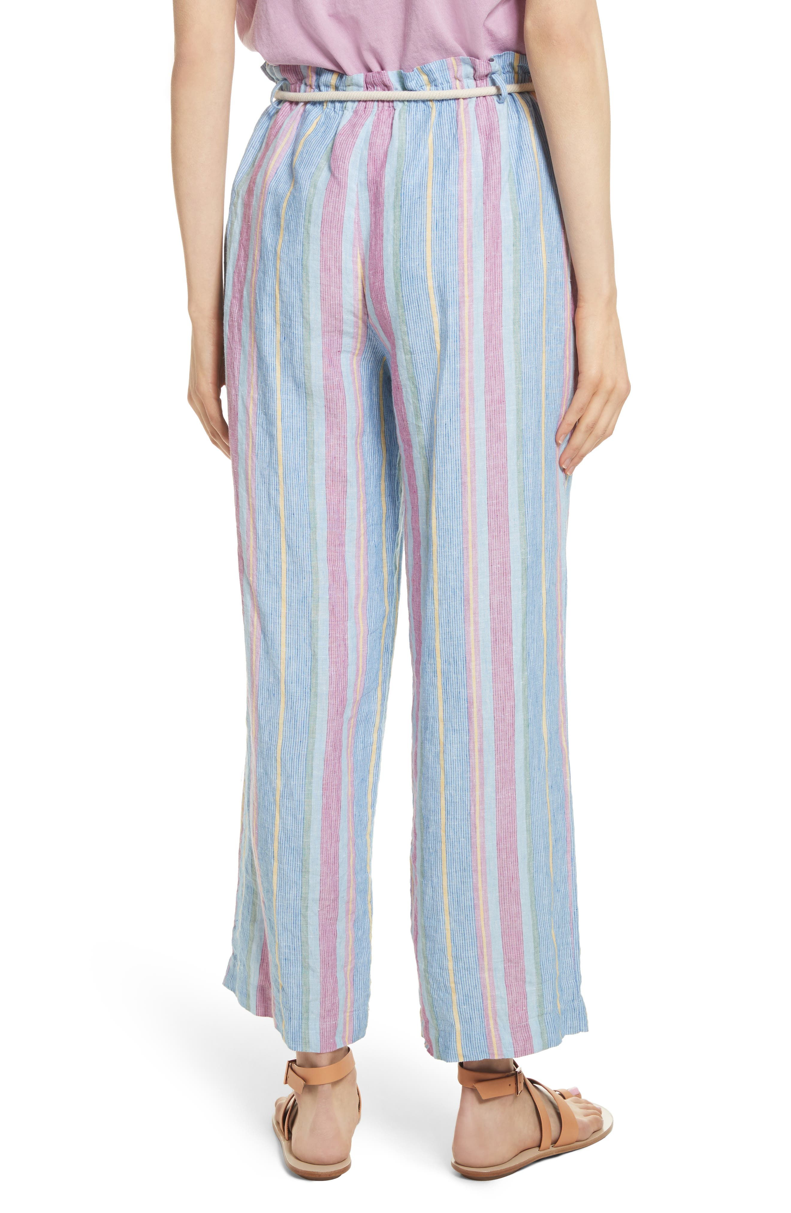 Easy Stripe Linen Pants,                             Alternate thumbnail 3, color,                             Purple Multi