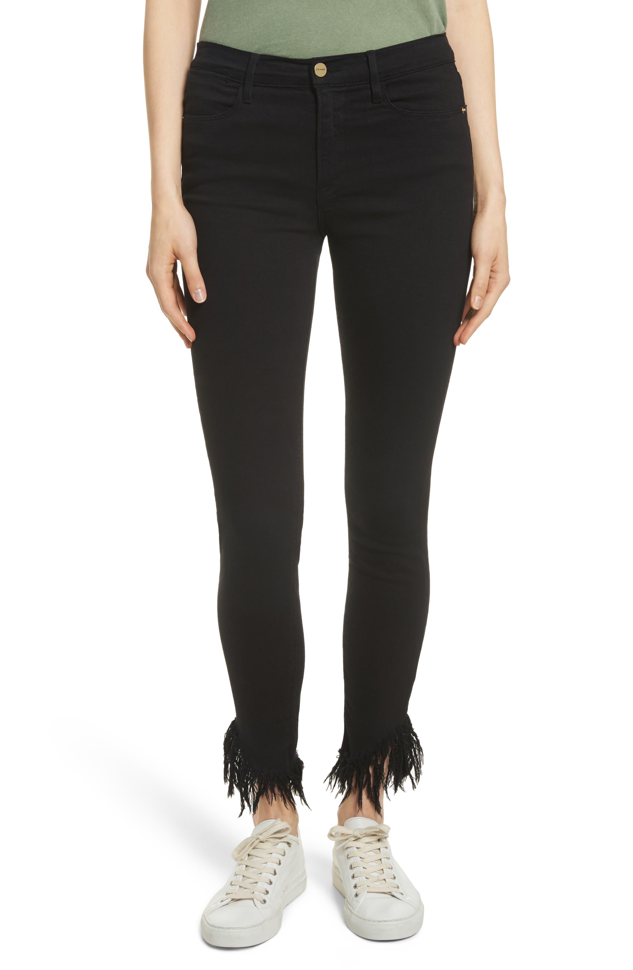 Alternate Image 1 Selected - FRAME Le High Shredded Skinny Jeans (Film Noir)