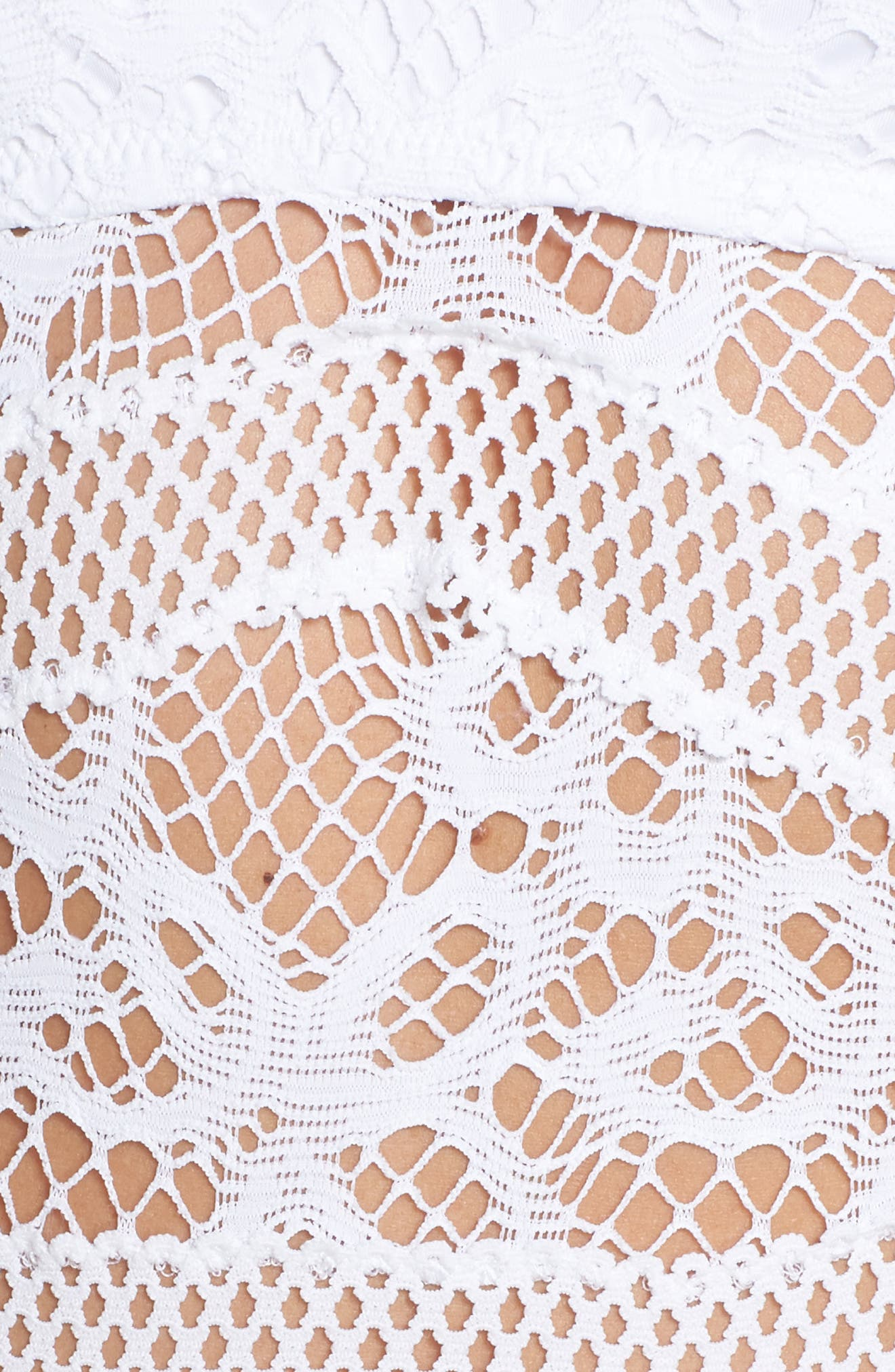 Color Play Crochet One-Piece Swimsuit,                             Alternate thumbnail 5, color,                             White