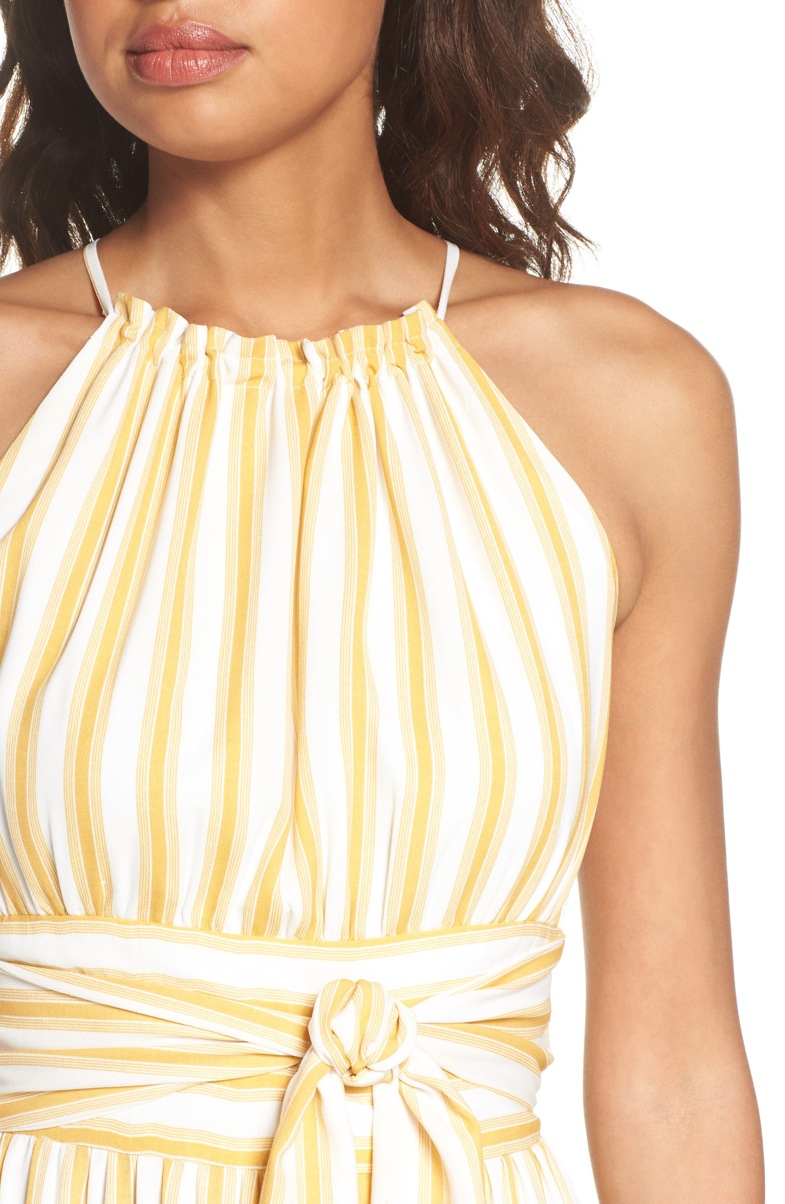 Leena Stripe Midi Dress,                             Alternate thumbnail 4, color,                             Mustard