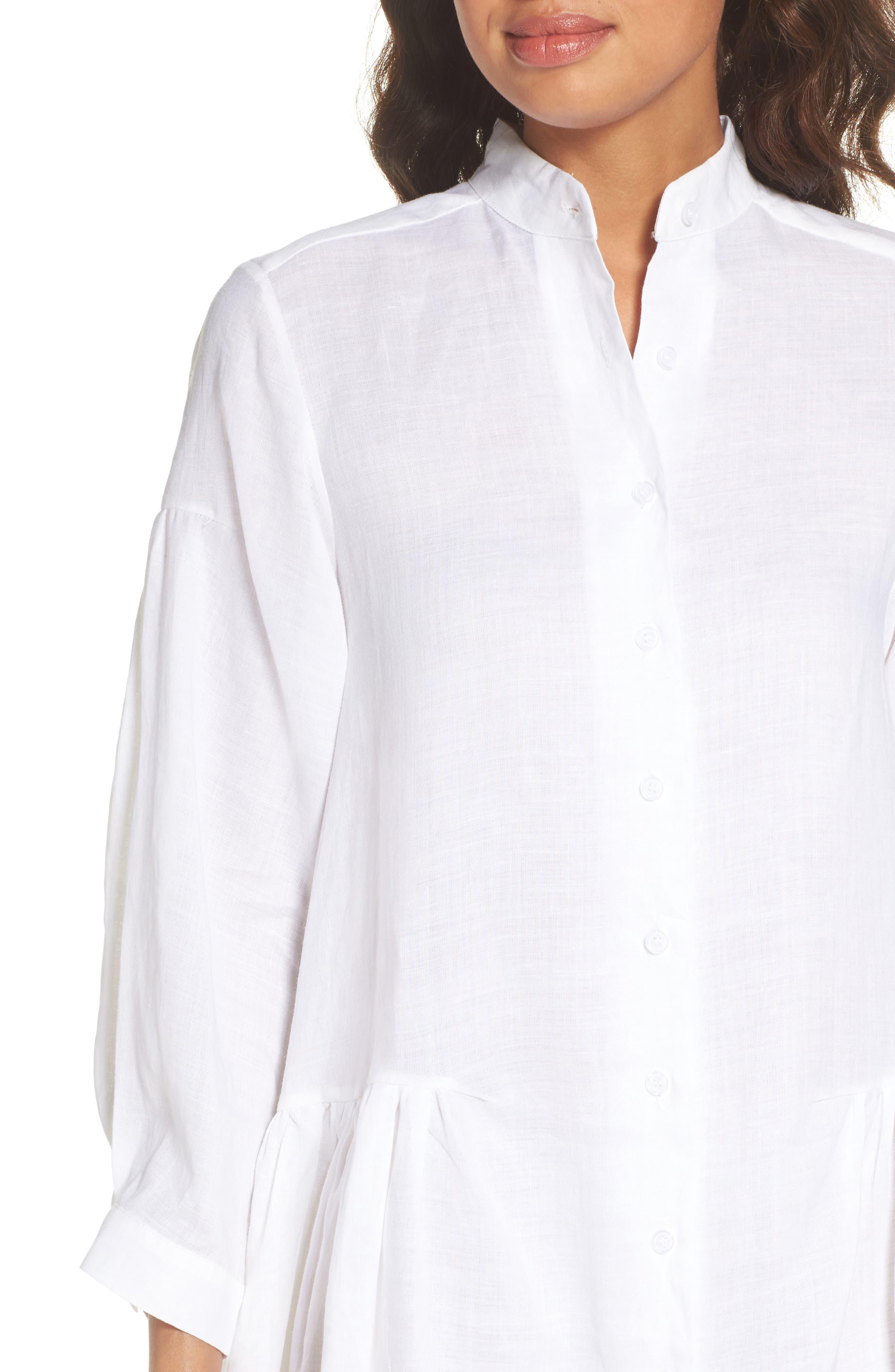 Tria Linen Shirtdress,                             Alternate thumbnail 4, color,                             White