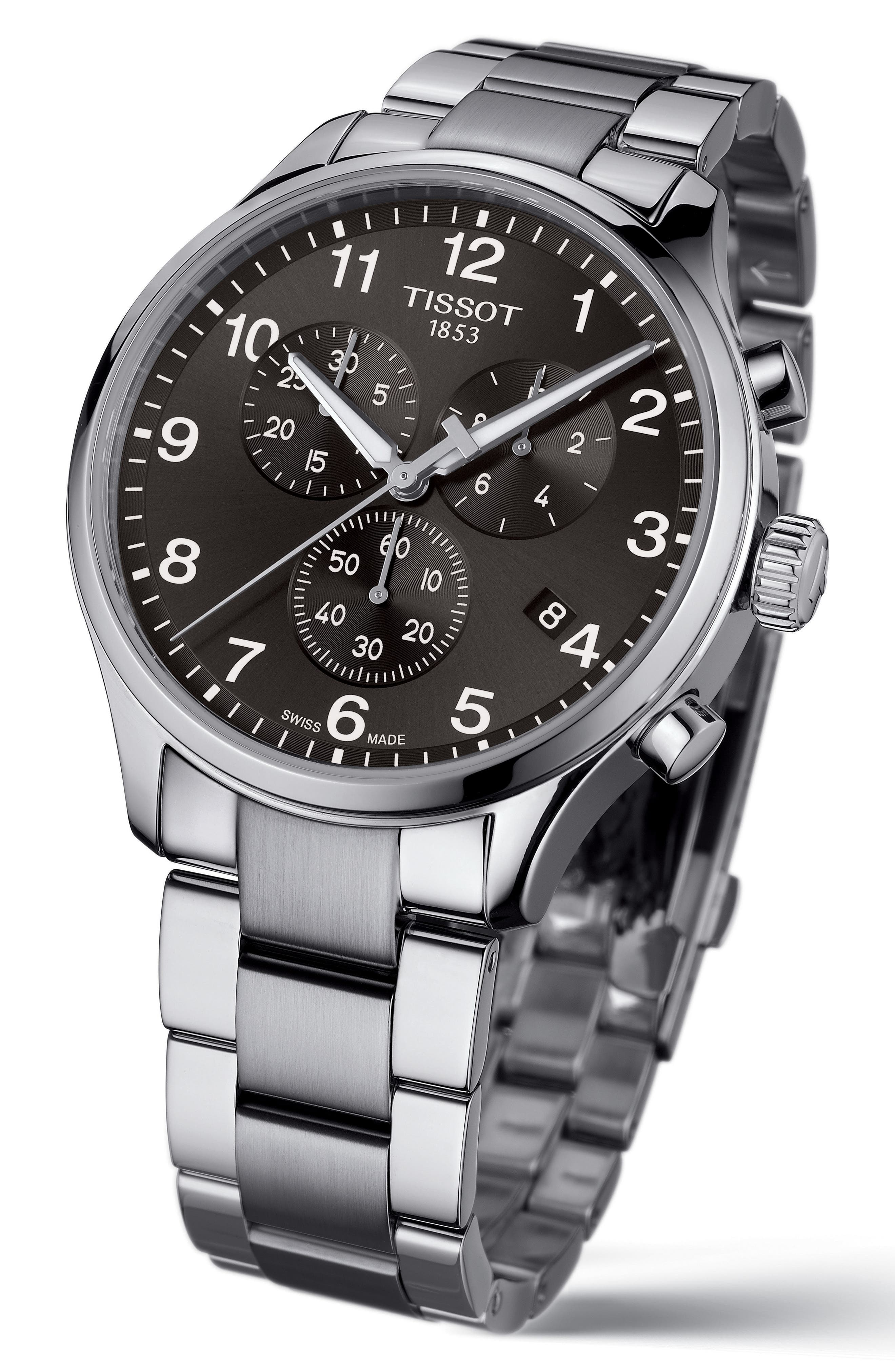 Chrono XL Collection Chronograph Bracelet Watch, 45mm,                             Alternate thumbnail 2, color,                             Silver/ Black/ Silver