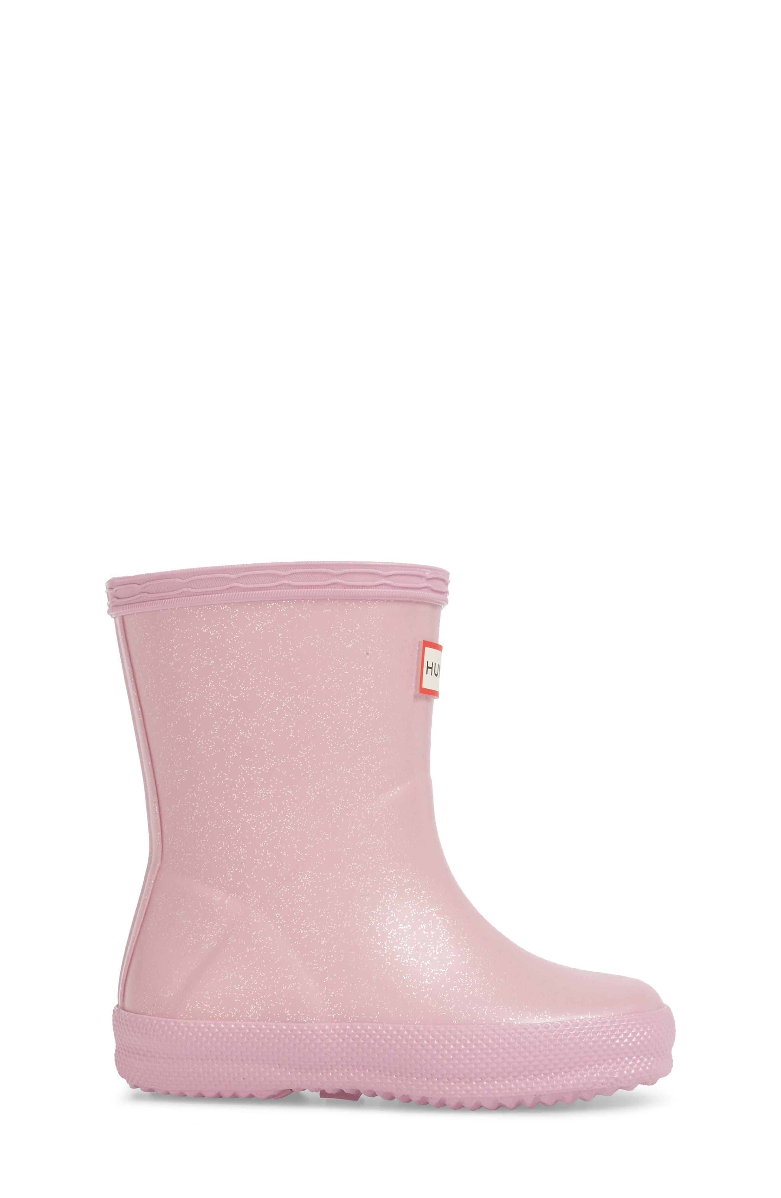 'First Classic' Glitter Rain Boot,                             Alternate thumbnail 3, color,                             Blossom
