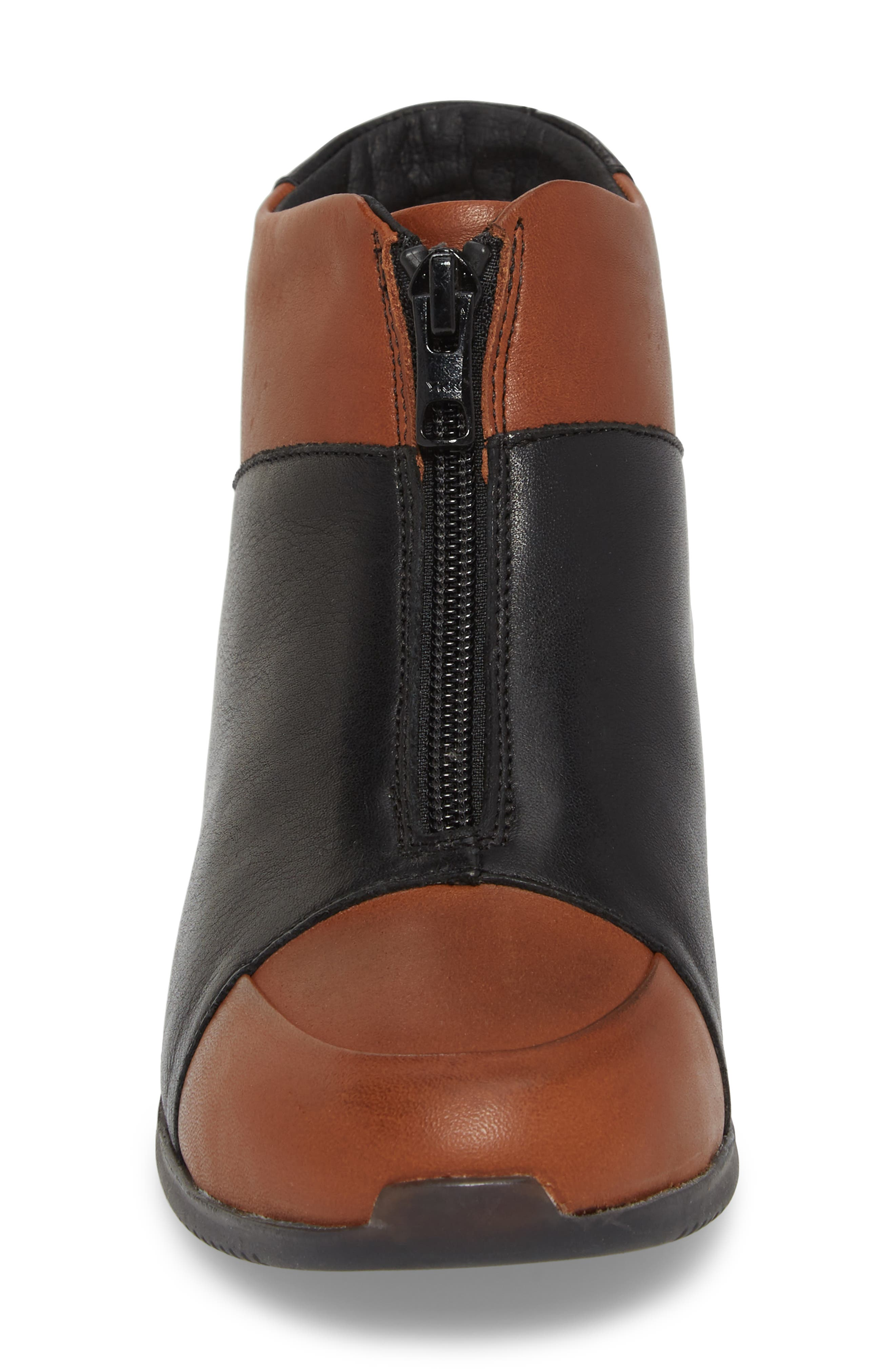 Roy Wool Lined Cap Toe Bootie,                             Alternate thumbnail 4, color,                             Cuoio/ Black Leather