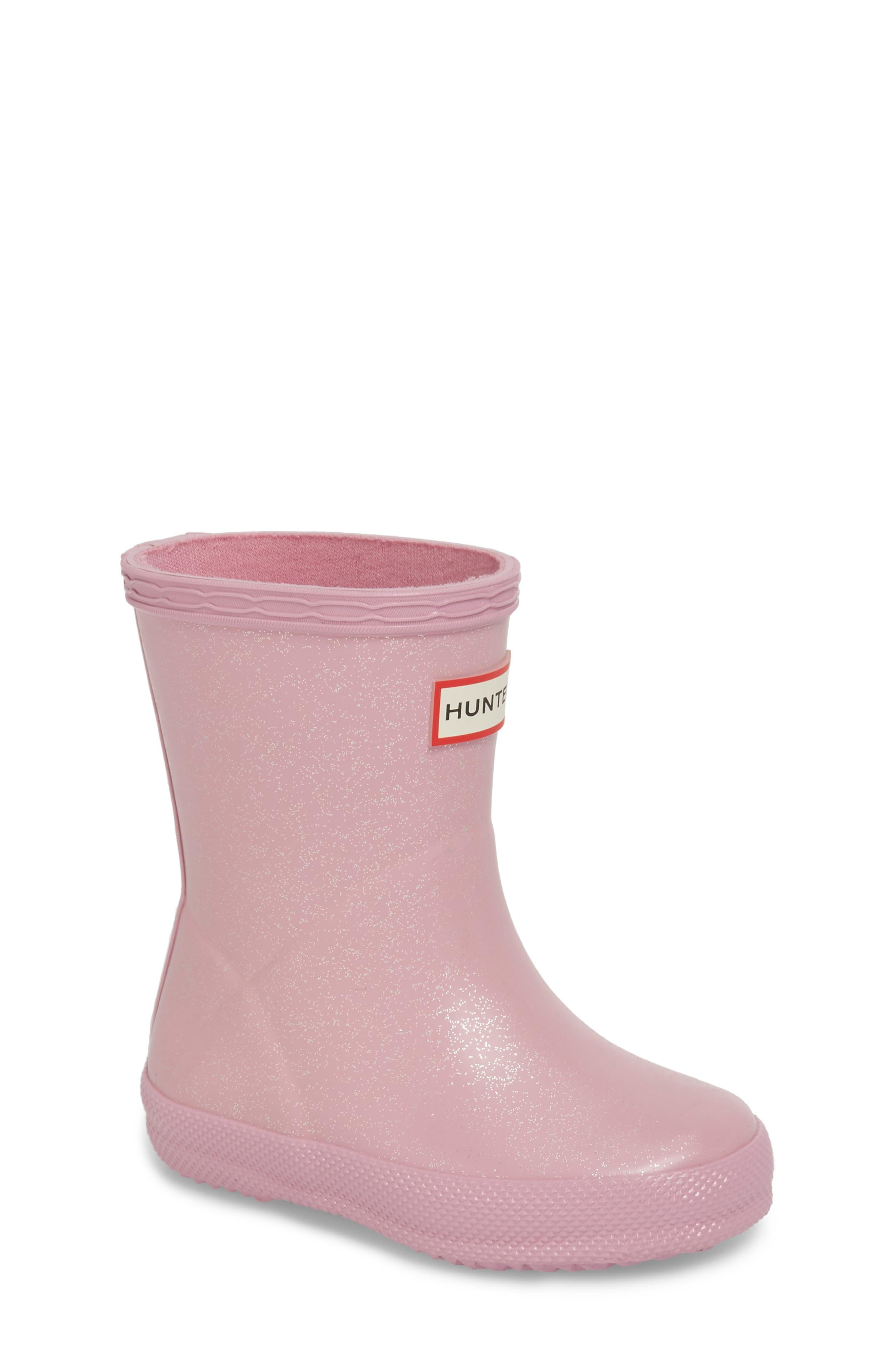 'First Classic' Glitter Rain Boot,                             Main thumbnail 1, color,                             Blossom