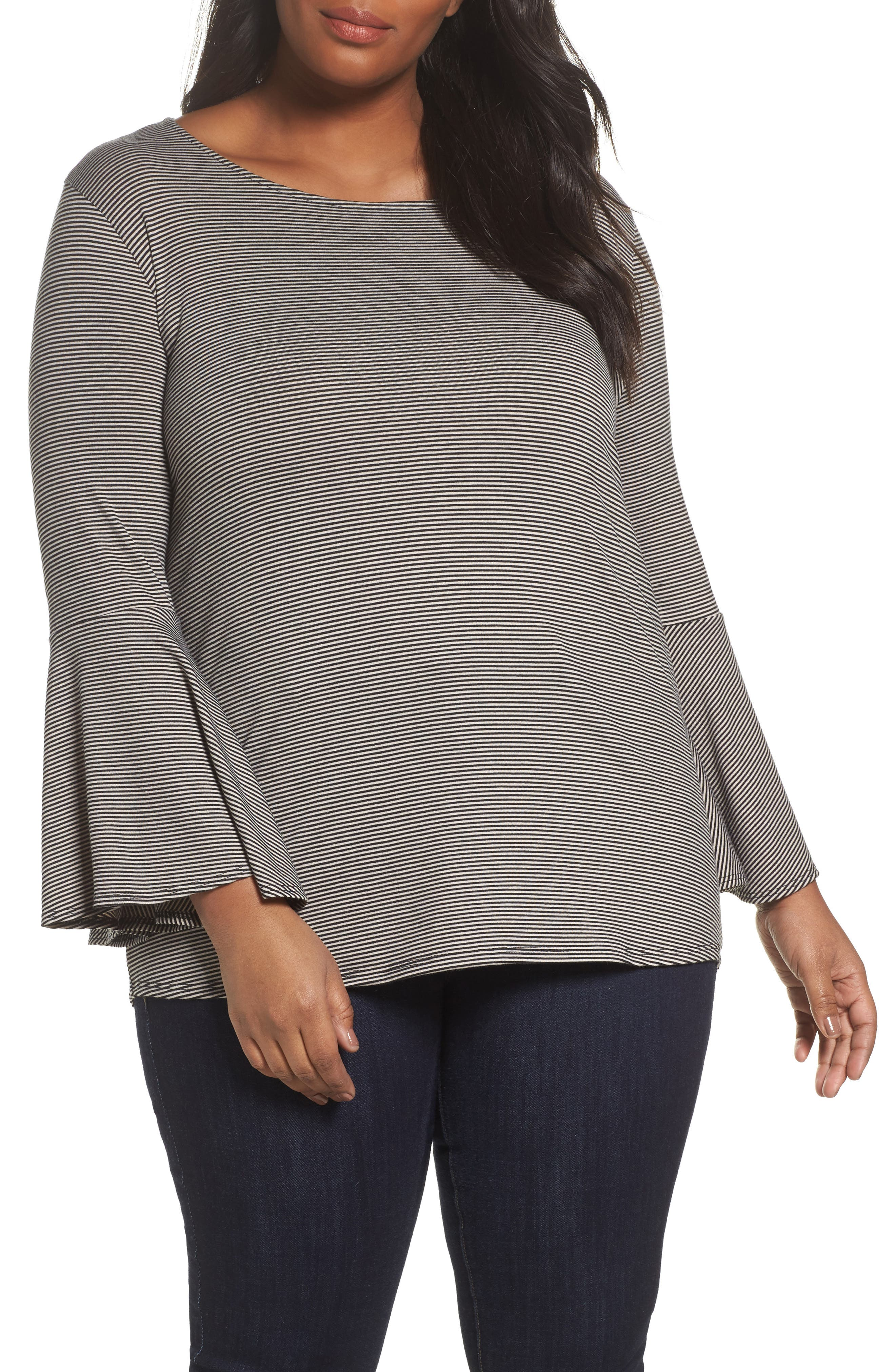 Bell Sleeve Top,                             Main thumbnail 1, color,                             Charcoal Heather- Black Stripe