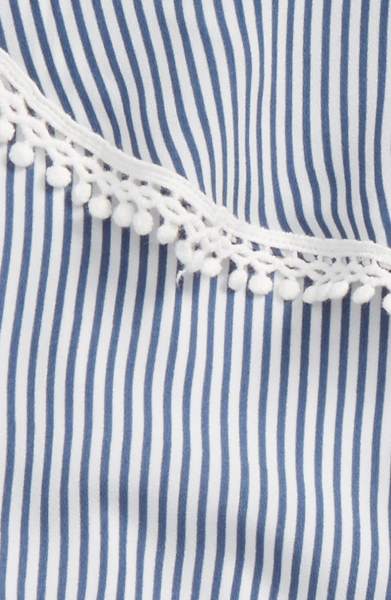 Stripe Ruffle Romper,                             Alternate thumbnail 2, color,                             Navy White