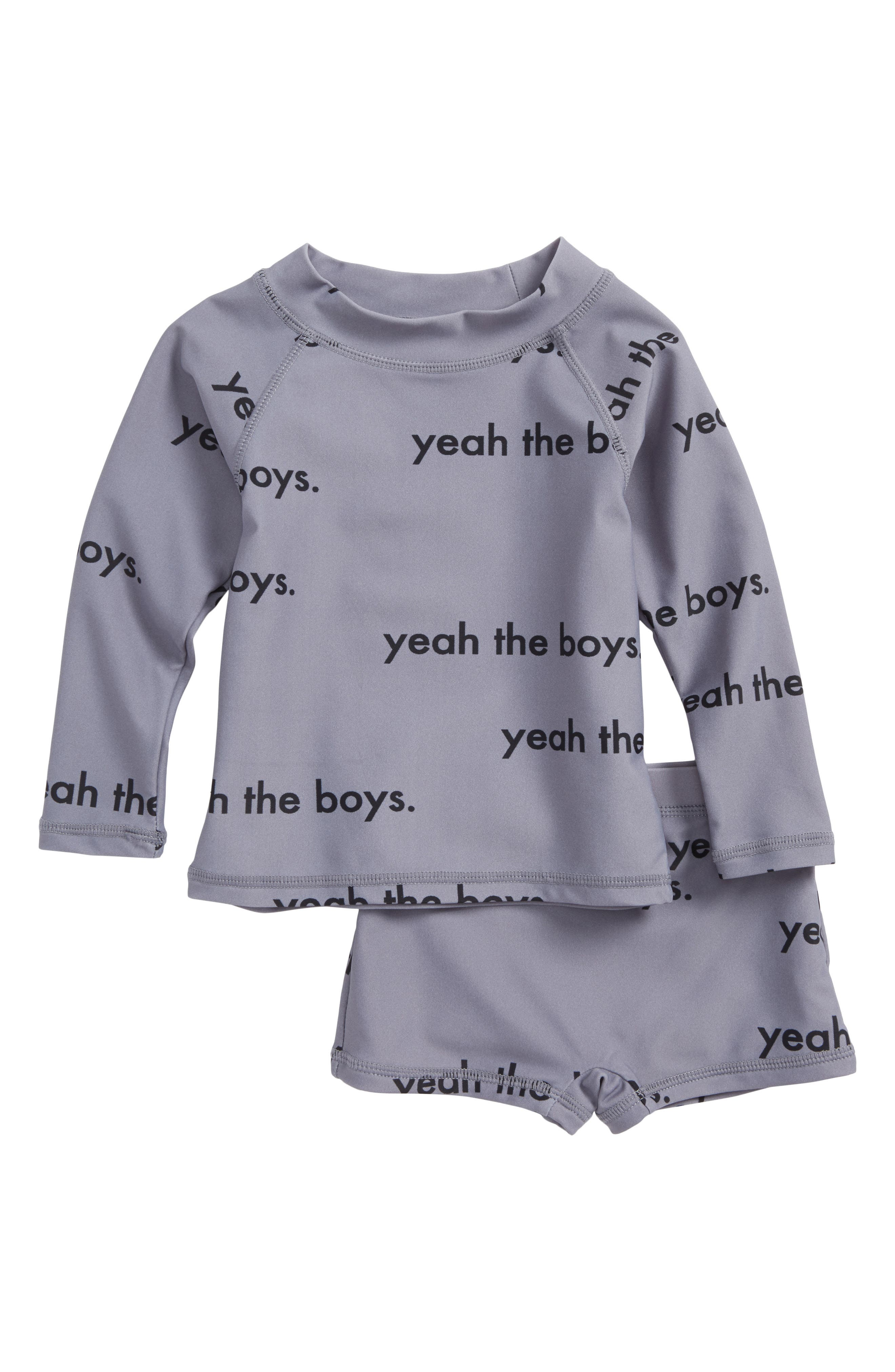 Yeah the Boys Two-Piece Rashguard Swimsuit,                             Main thumbnail 1, color,                             Grey