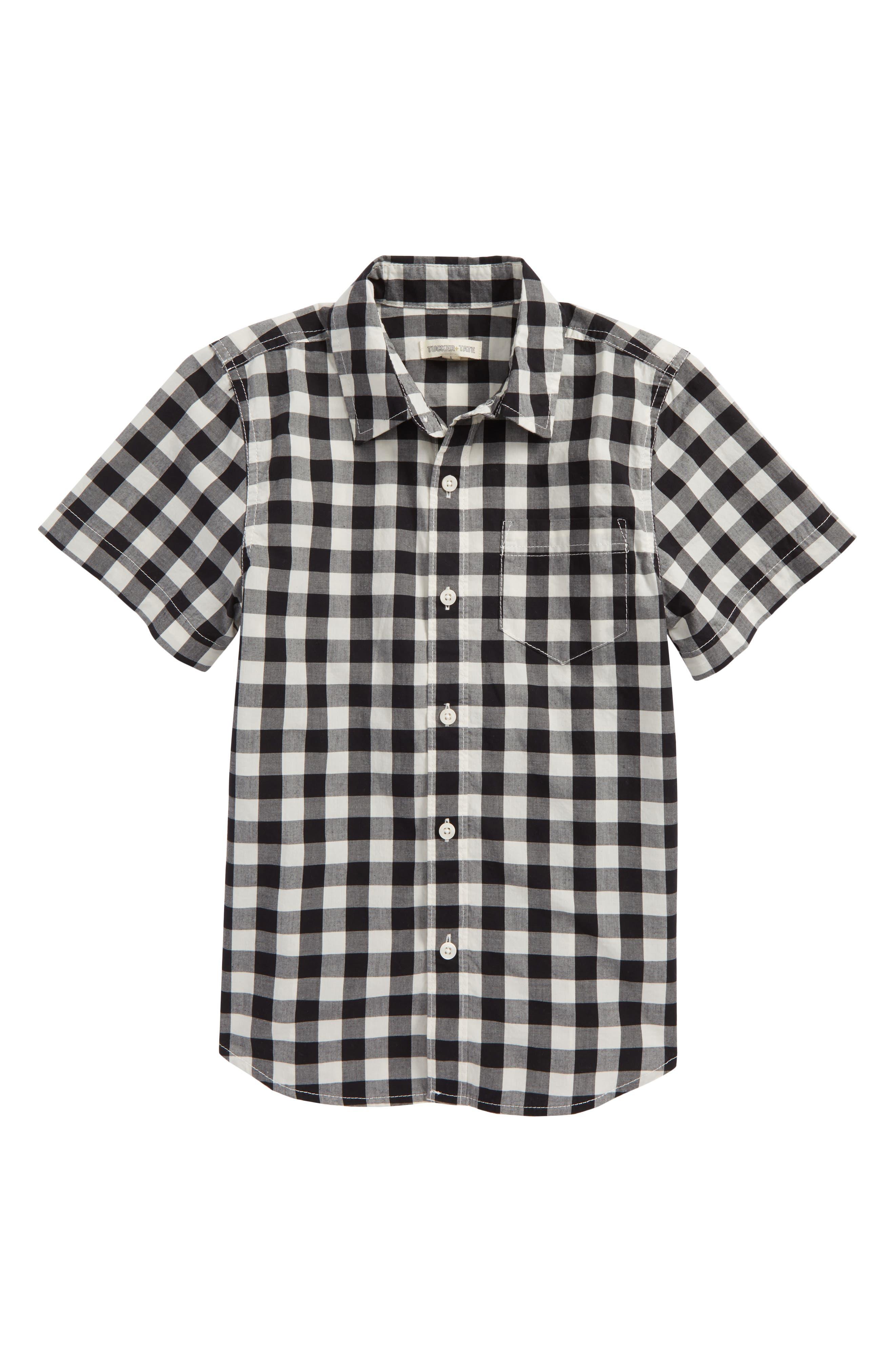 Photo Op Woven Shirt,                             Main thumbnail 1, color,                             Black- Ivory Gingham