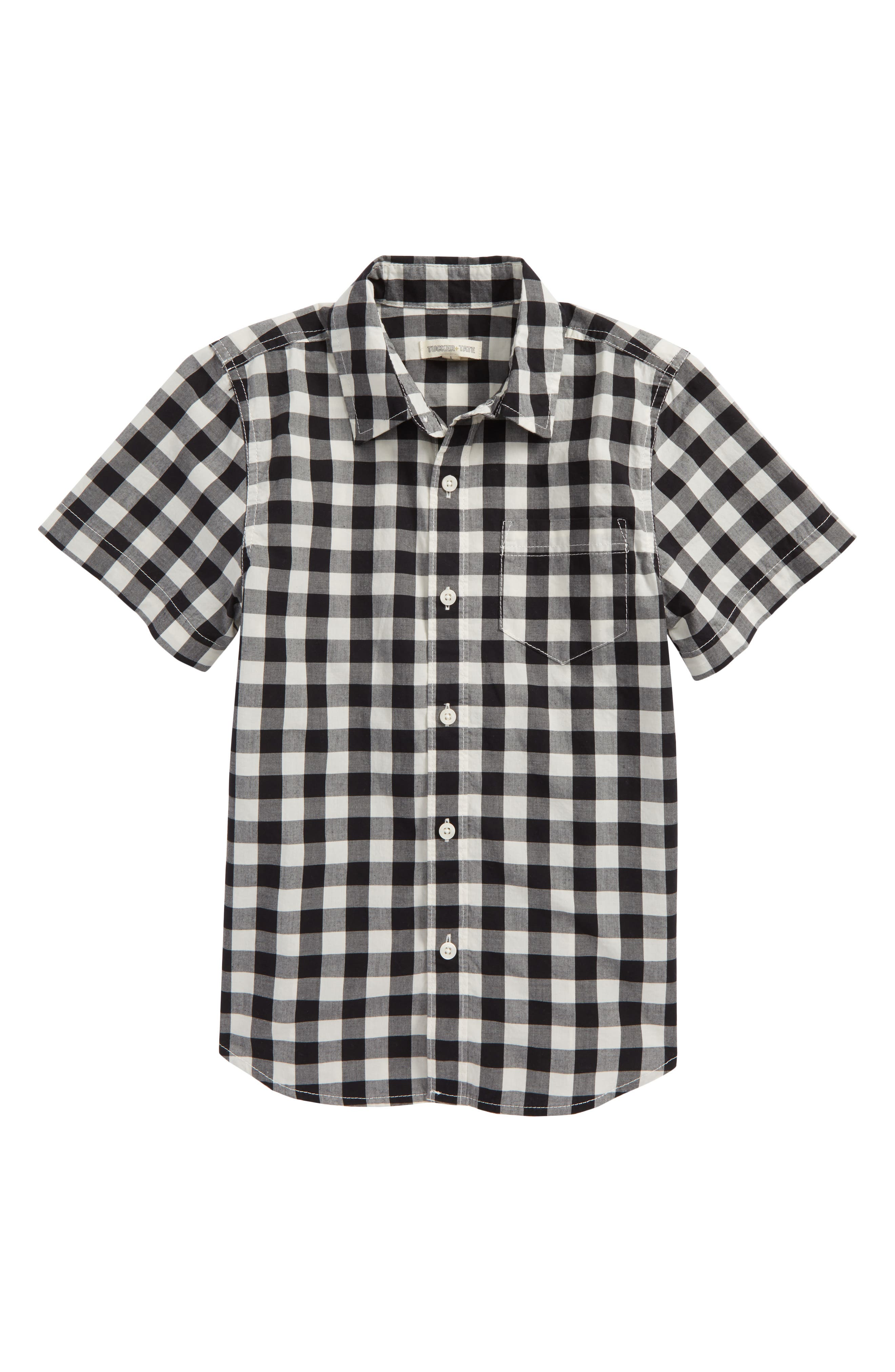 Photo Op Woven Shirt,                         Main,                         color, Black- Ivory Gingham
