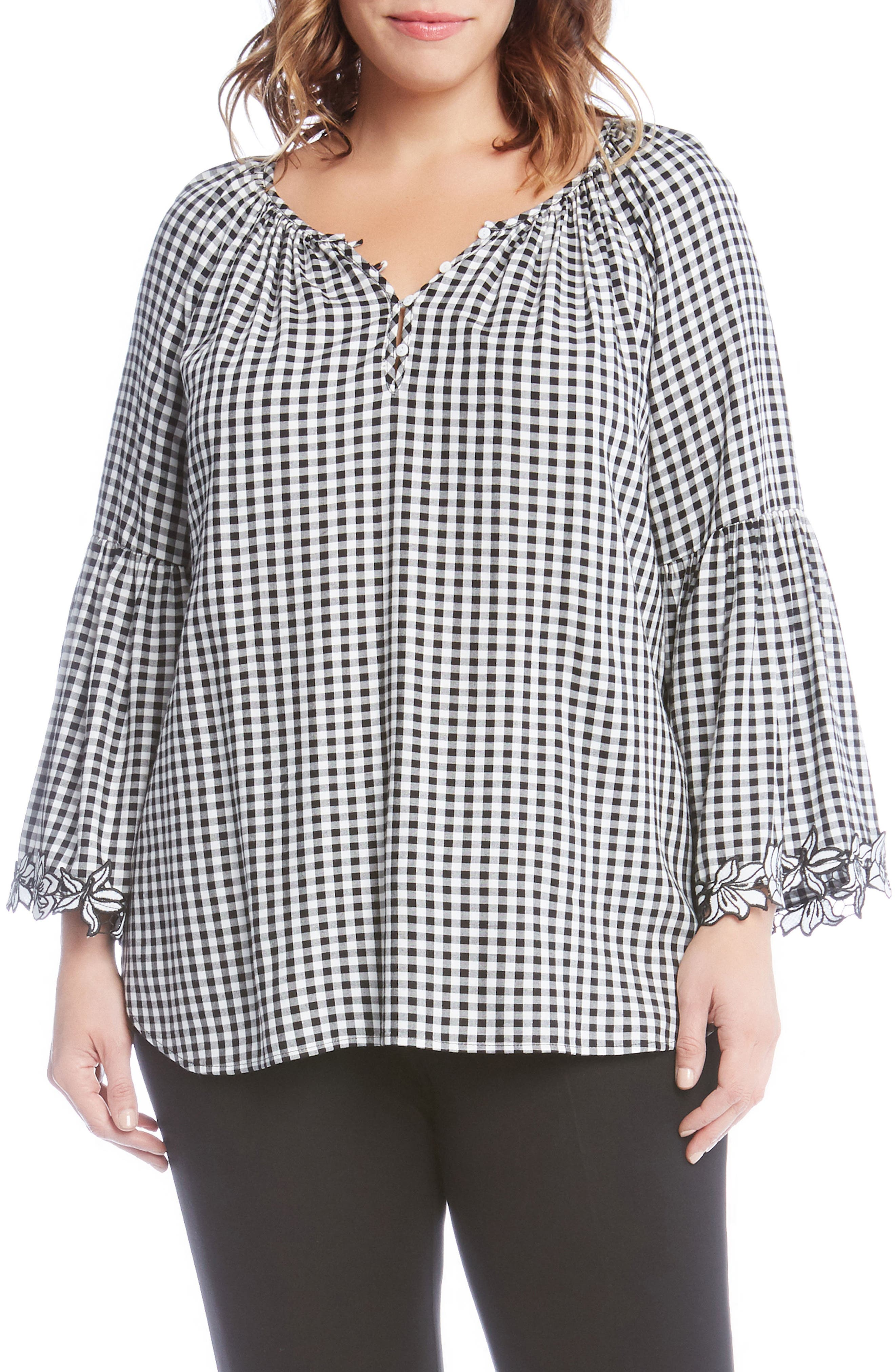 Gingham Bell Sleeve Top,                         Main,                         color, Black
