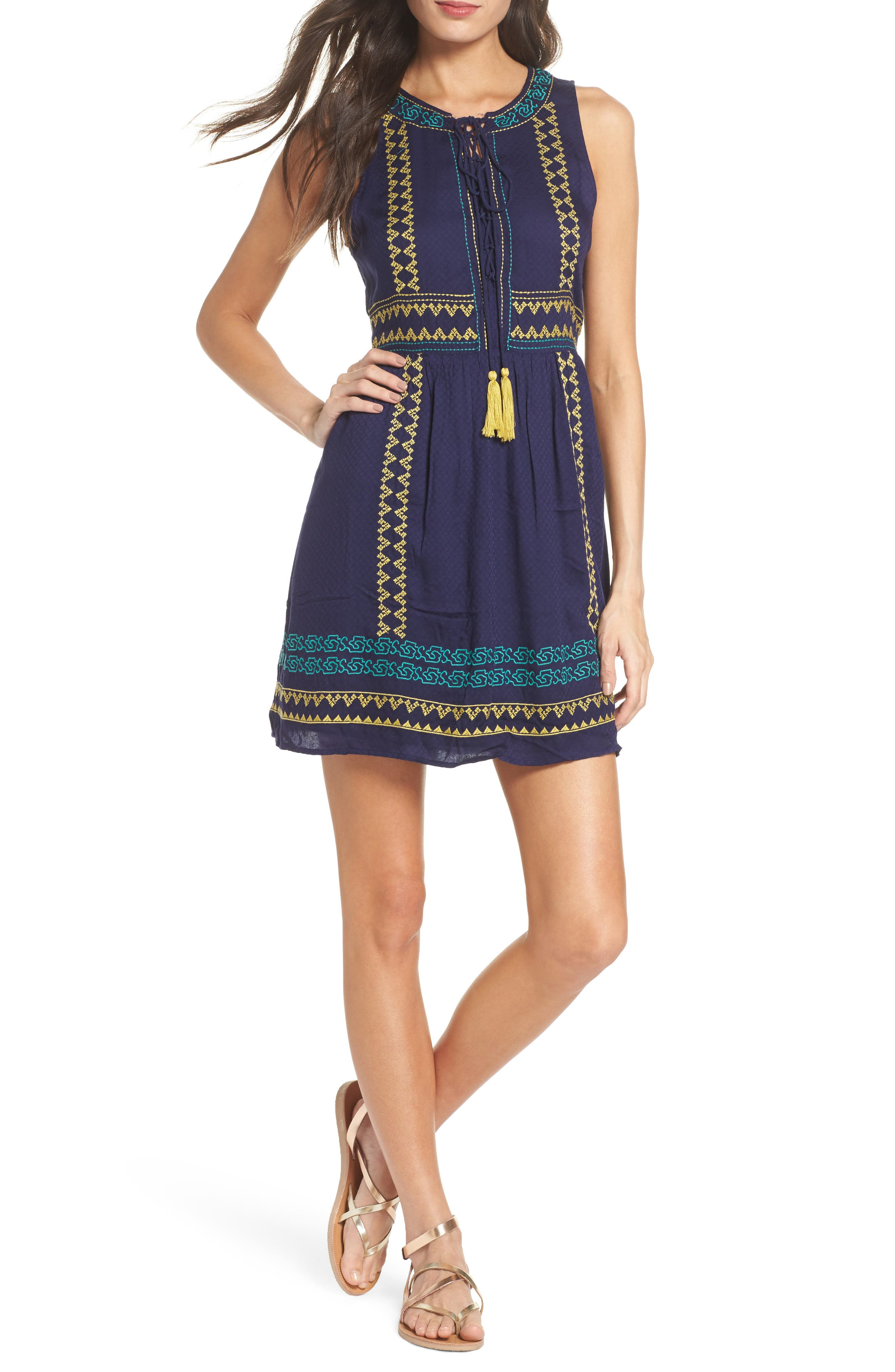 Sleeveless Embroidered A-Line Dress,                         Main,                         color, Navy