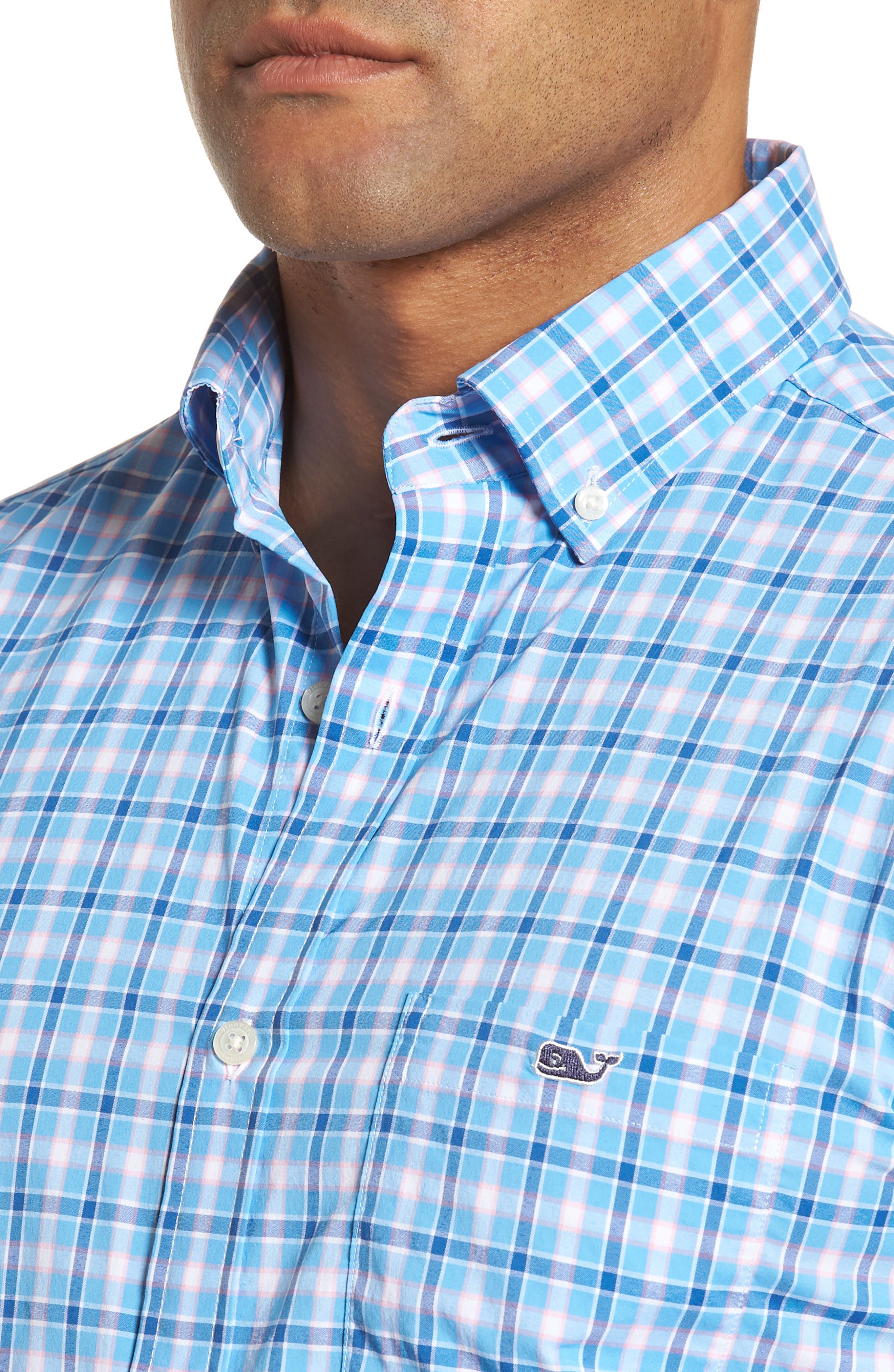 Lyford Cay Classic Fit Stretch Check Sport Shirt,                             Alternate thumbnail 4, color,                             Ocean Breeze