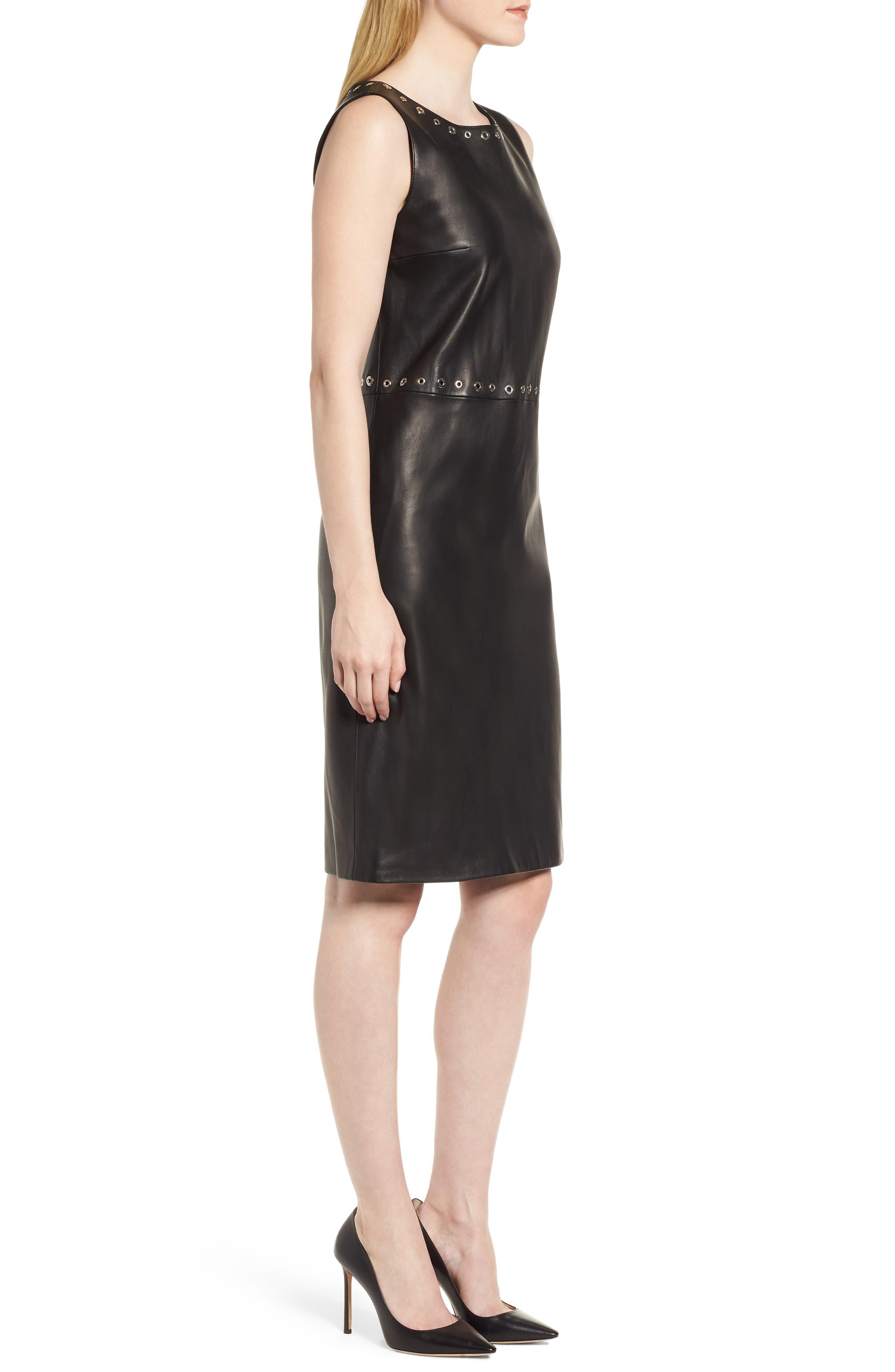 Syrix Leather Sheath Dress,                             Alternate thumbnail 3, color,                             Black