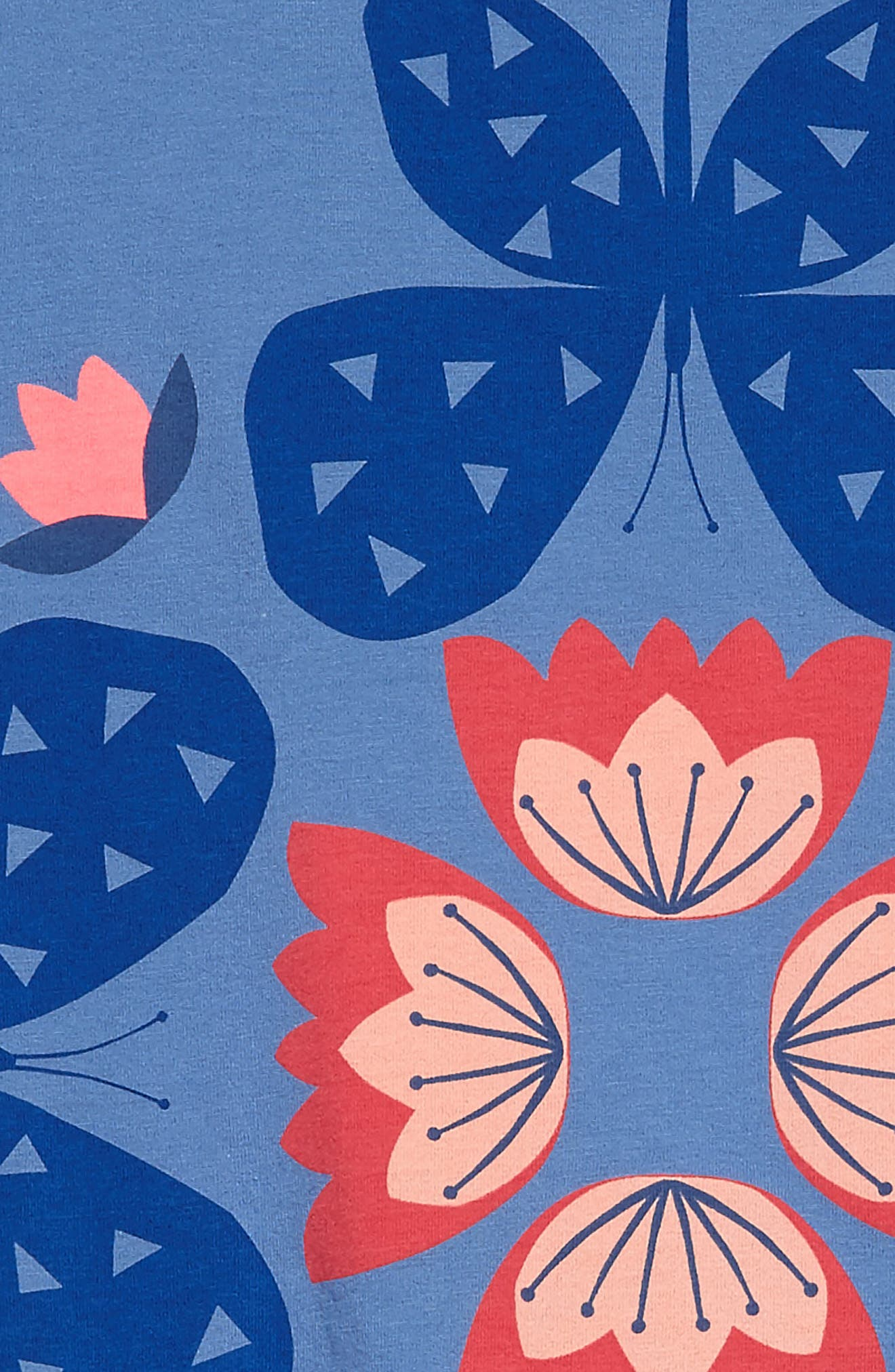 Butterfly & Flowers Graphic Dress,                             Alternate thumbnail 3, color,                             Blue Yarrow